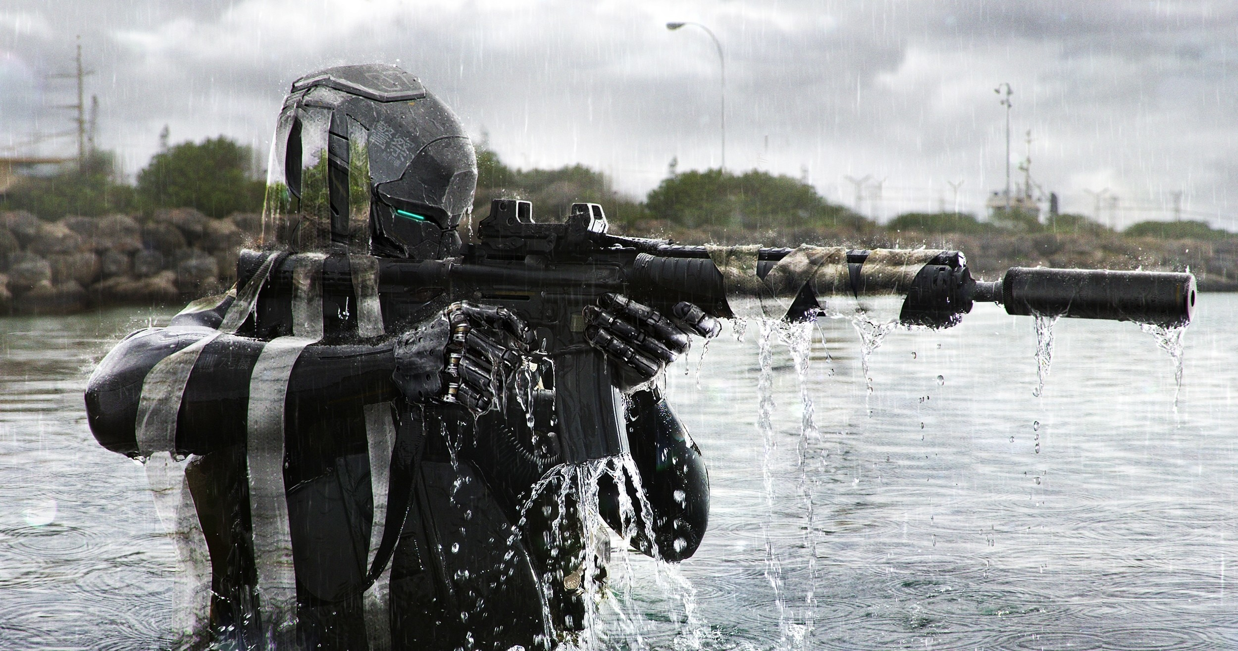 Image: Soldier, robot, aiming, water, river, cyborg, gun, automatic, a silencer, camo, camouflage, invisibility