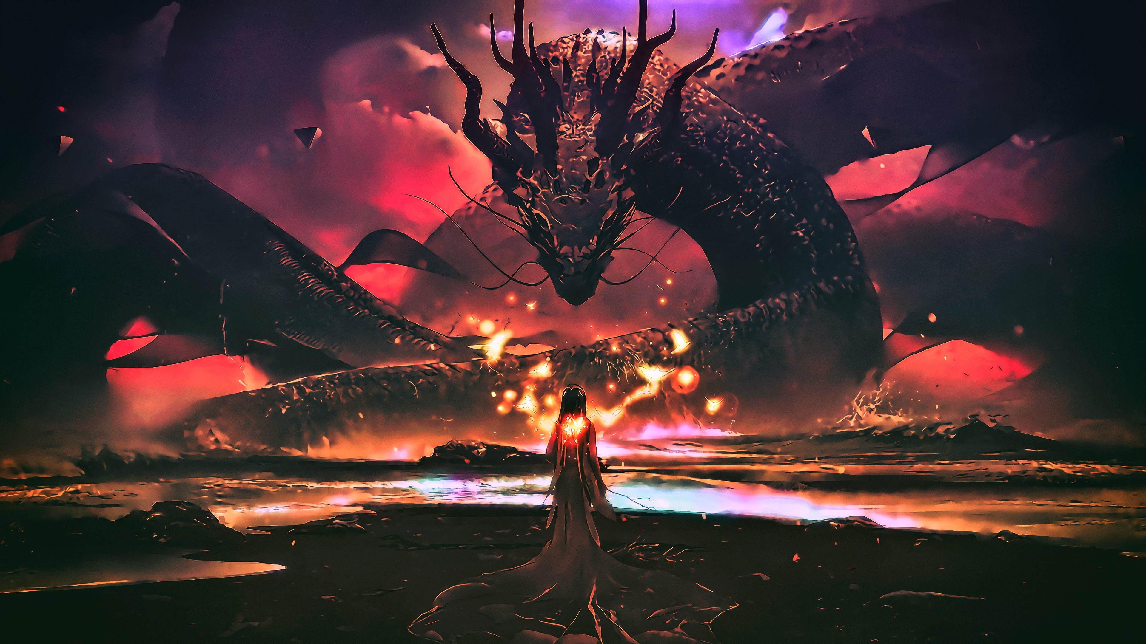 Картинка: Дракон, змей, девушка, огни, вода