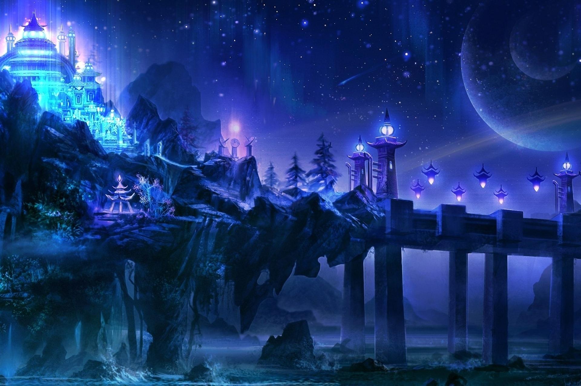 Image: Castle, building, rocks, bridge, lanterns, lights, night, stars