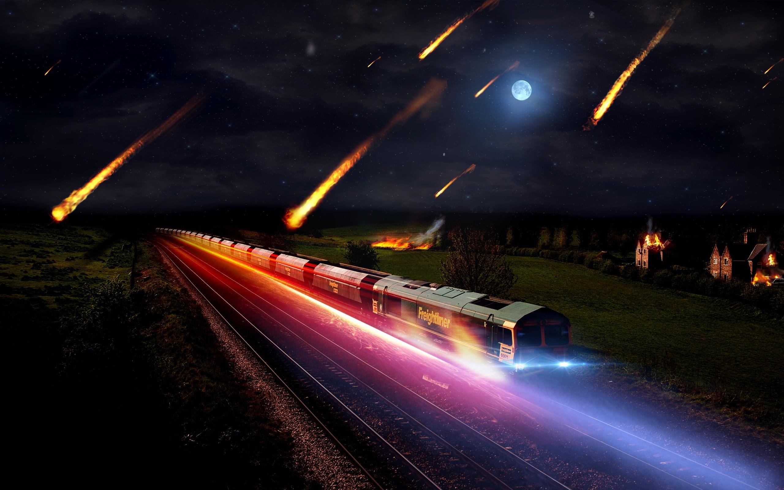 Картинка: Поезд, свечение, свет, огни, ночь, луна, метеориты, дома, железная дорога