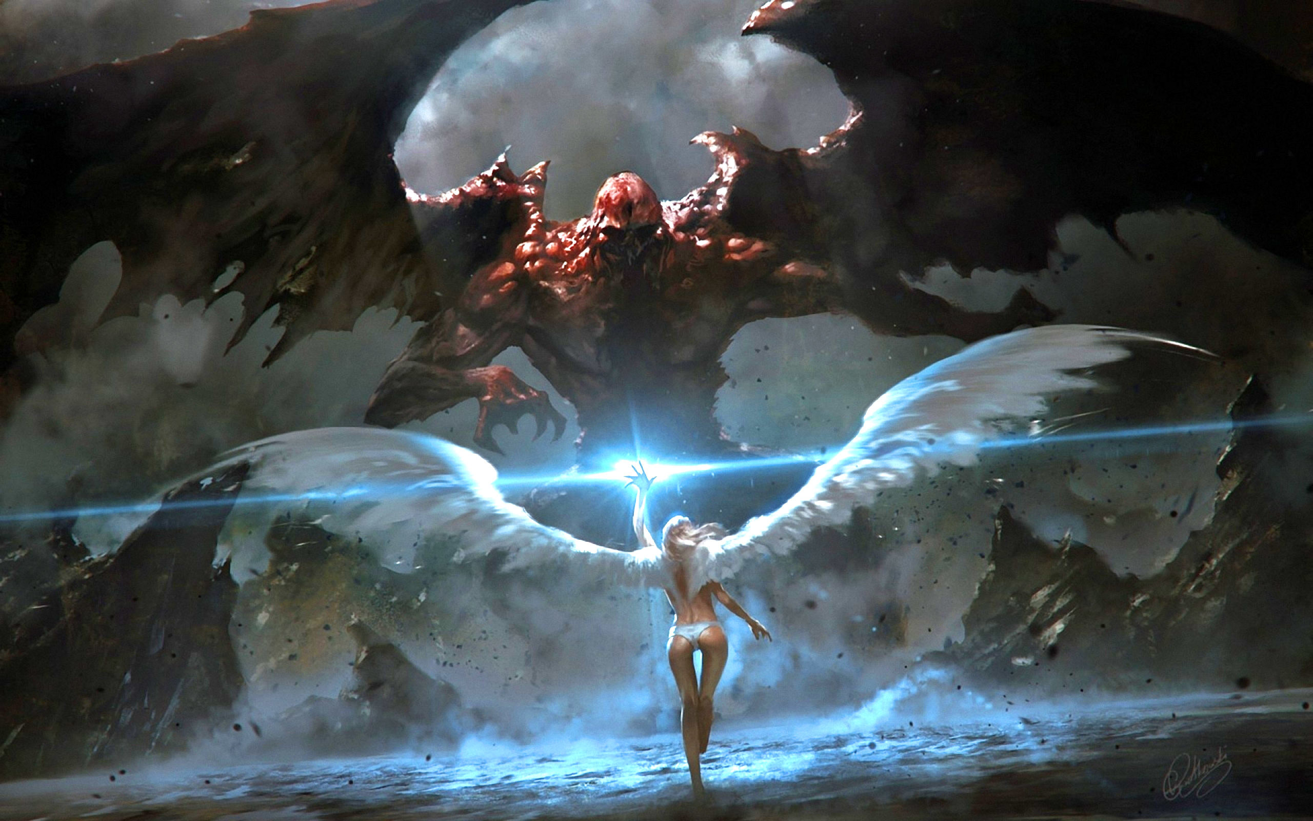Image: Angel, Demon, wings, beam, light, art, girl, monster, devil