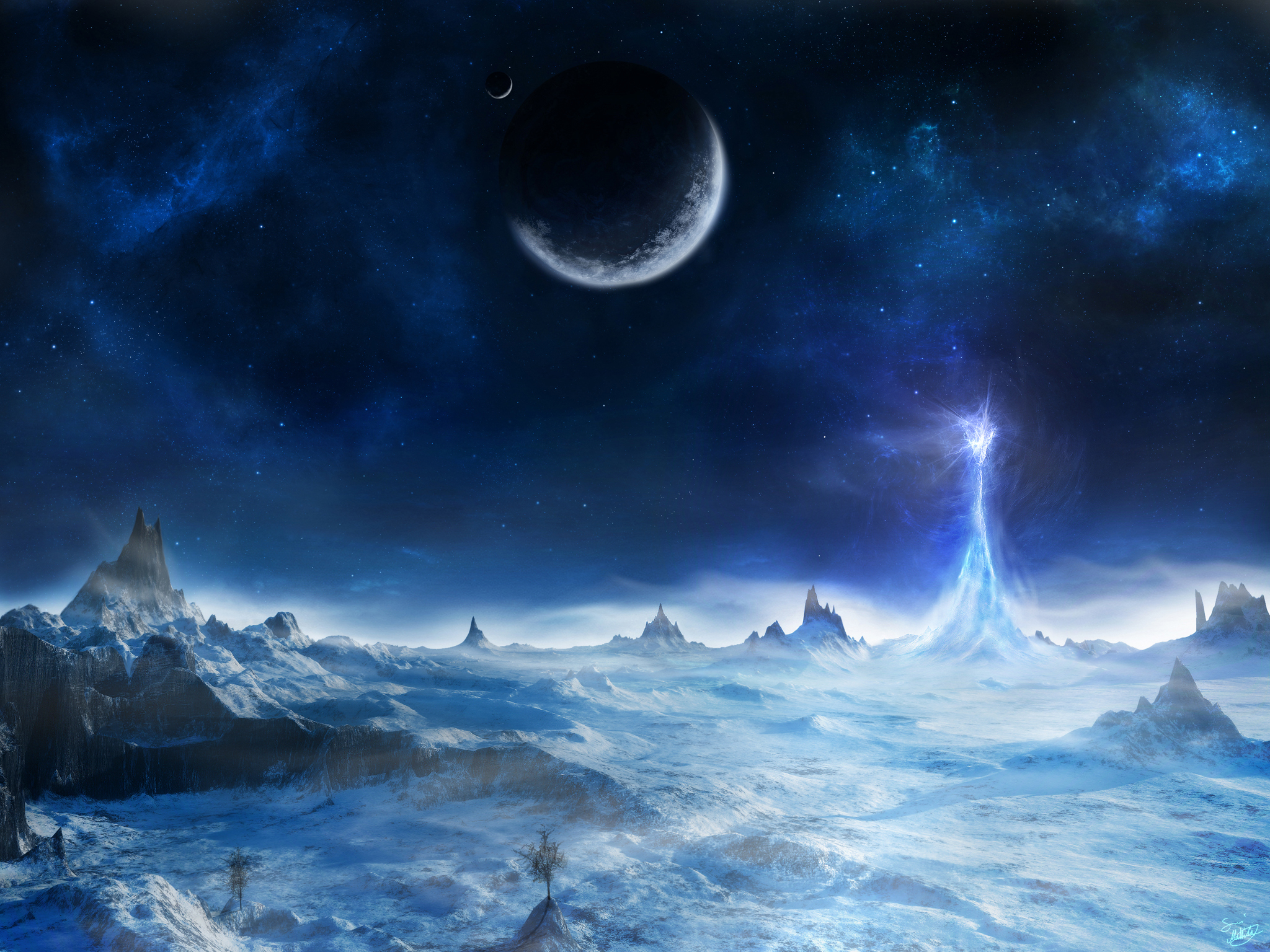 Картинка: планета, энергия, лед, поверхность, горы, зима, снег, небо, космос, звёзды