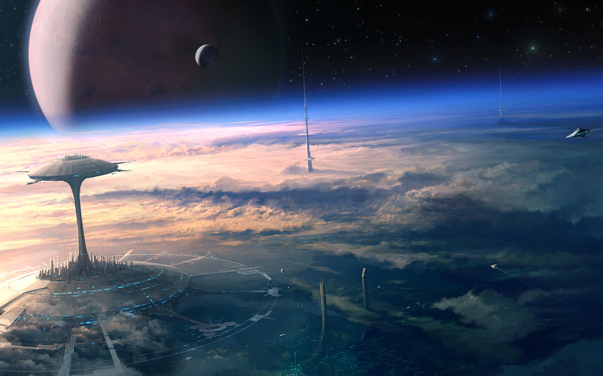Image: Universe, space, stars, planets, clouds, spaceship, ship