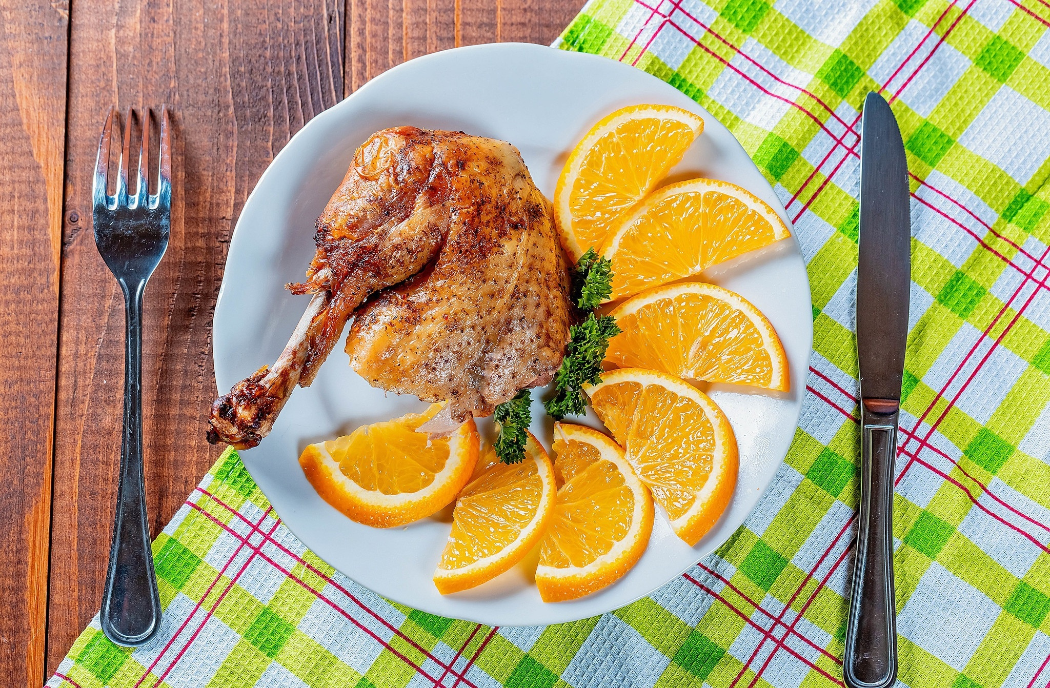 Image: Meat, chicken, orange slices