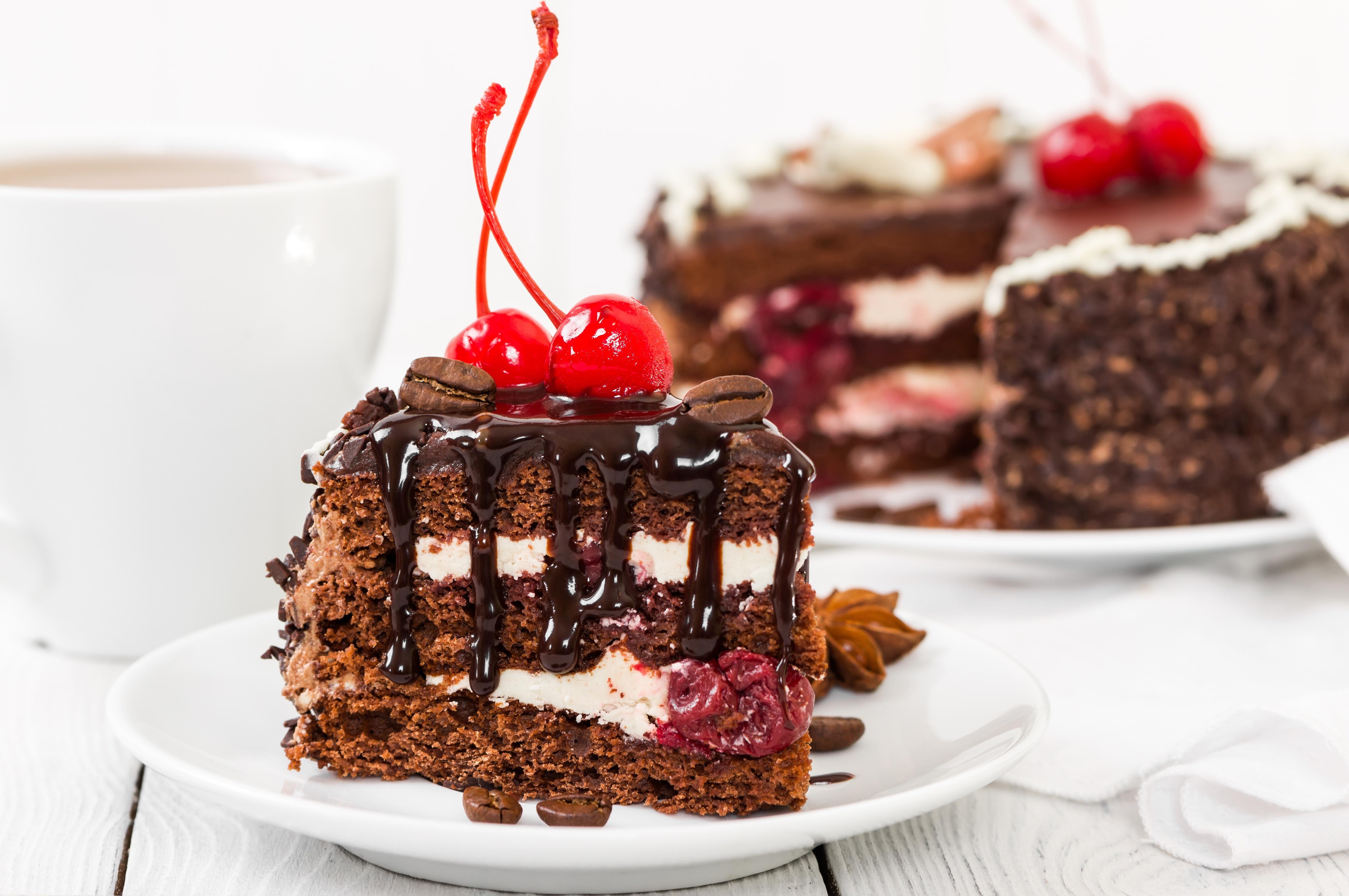 Картинка: Ломтик, торт, вишня, десерт, шоколад