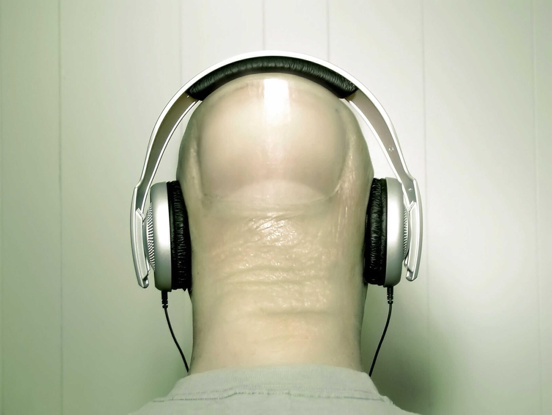 Image: Headphones, head, finger, fingernail, listening, music