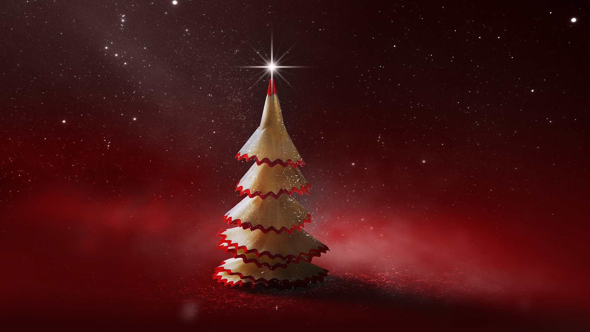 Image: Tree, pencil, red background, stars, twinkle