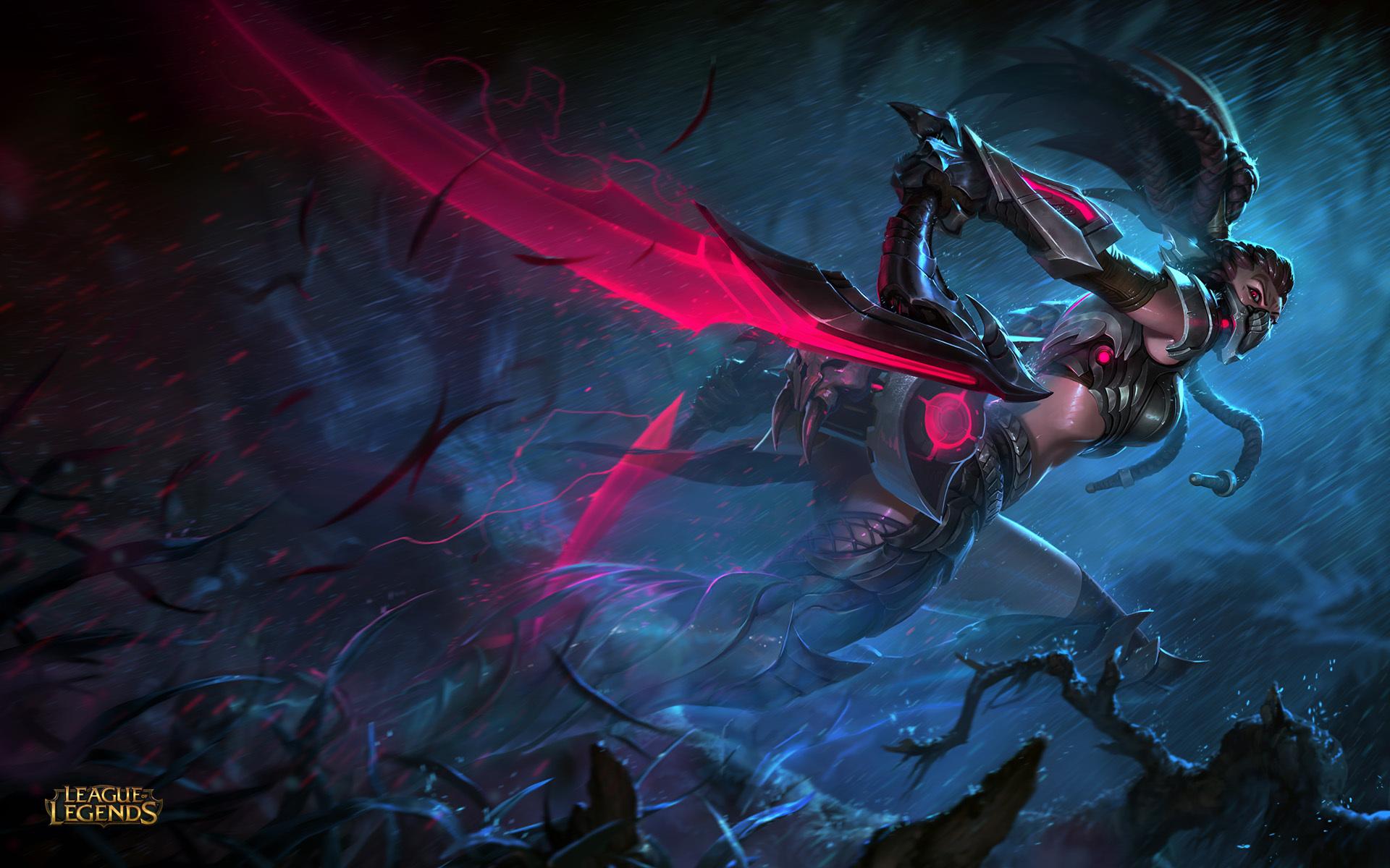 Картинка: Игра, League of Legends, Akali, бежит, дождь, оружие, парные камы