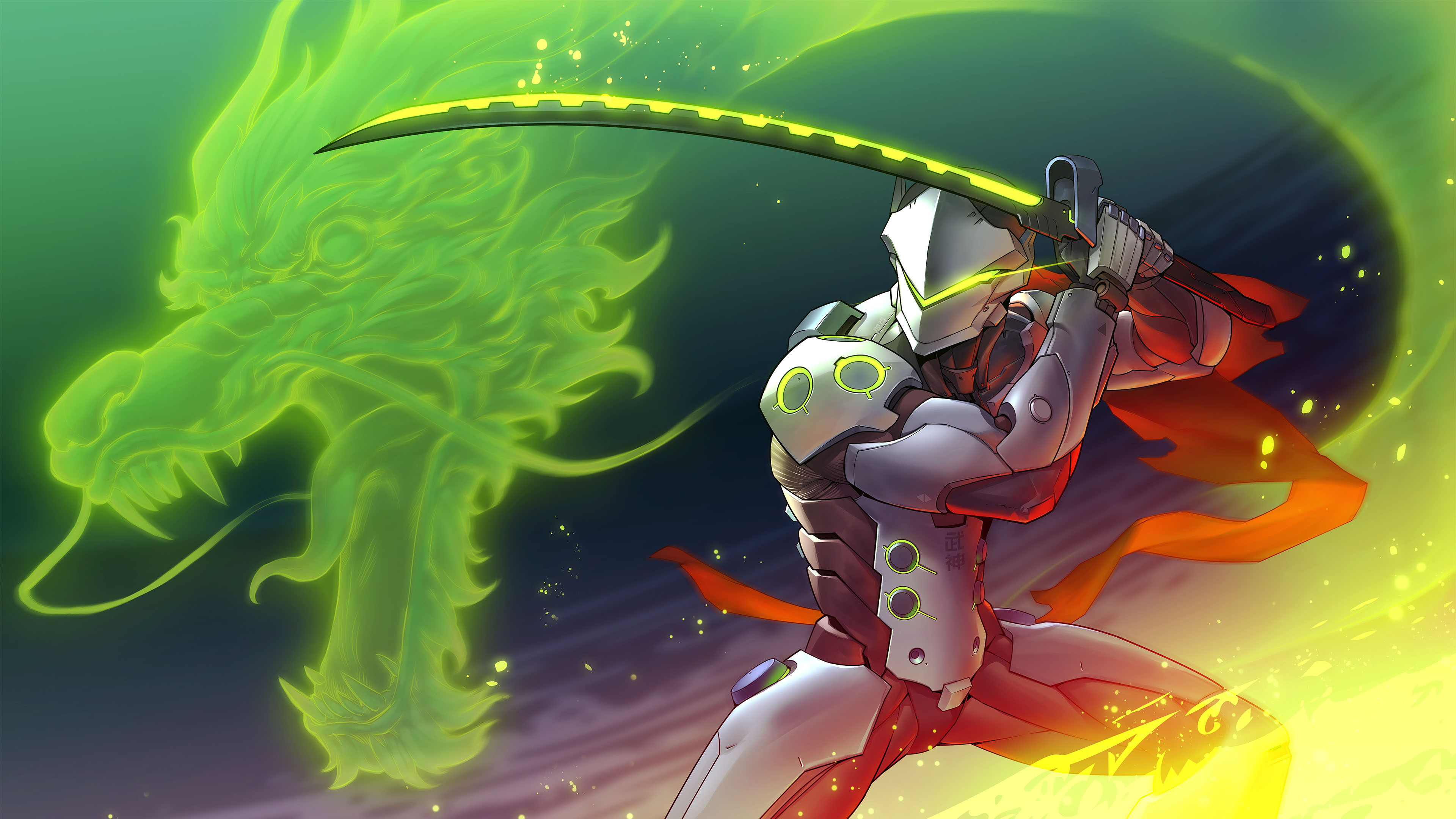 Картинка: Меч, дракон, стойка дракона, доспех, overwatch, Genji