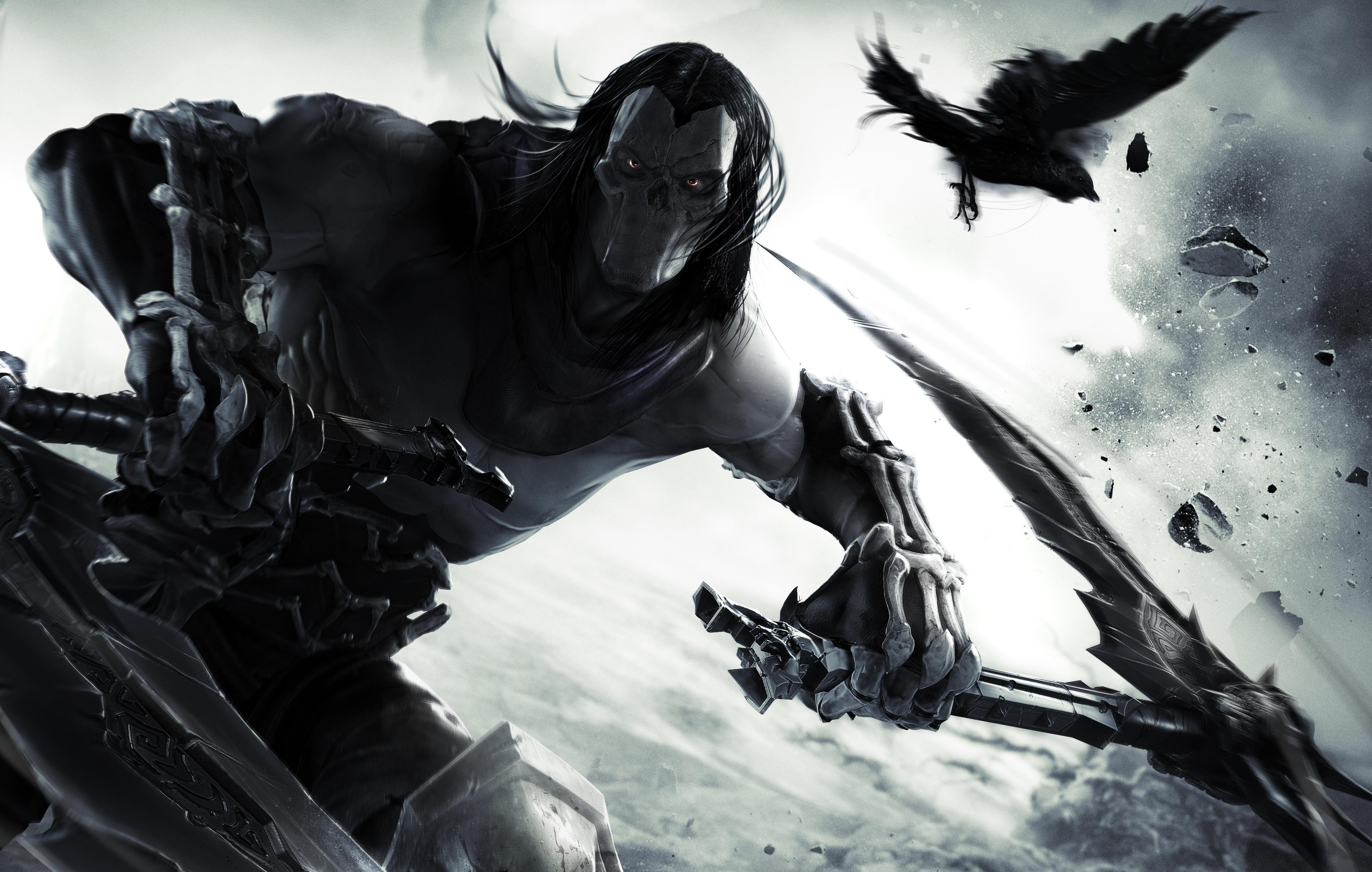 Картинка: Всадник, Смерть, птица, ворон, маска, взгляд, кости, удар, косы, игра, Darksiders 2