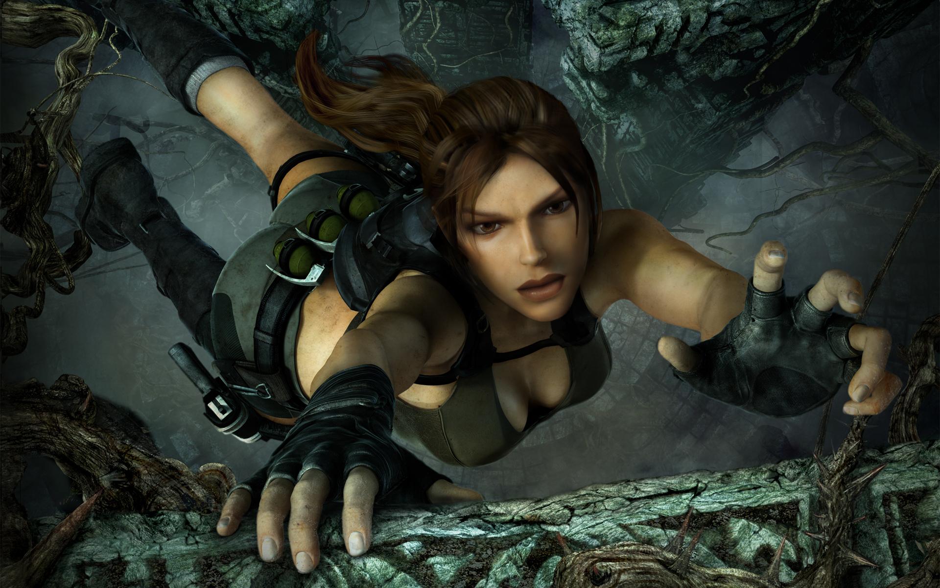 Картинка: Lara Croft, игра, Tomb Raider: Underworld, хватка, уступ, висит, оружие, пропасть