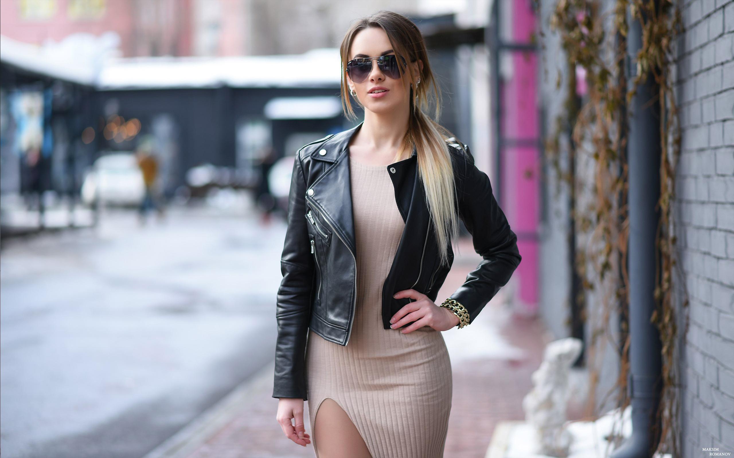 Картинка: Девушка, стиль, улица, куртка, очки, блондинка