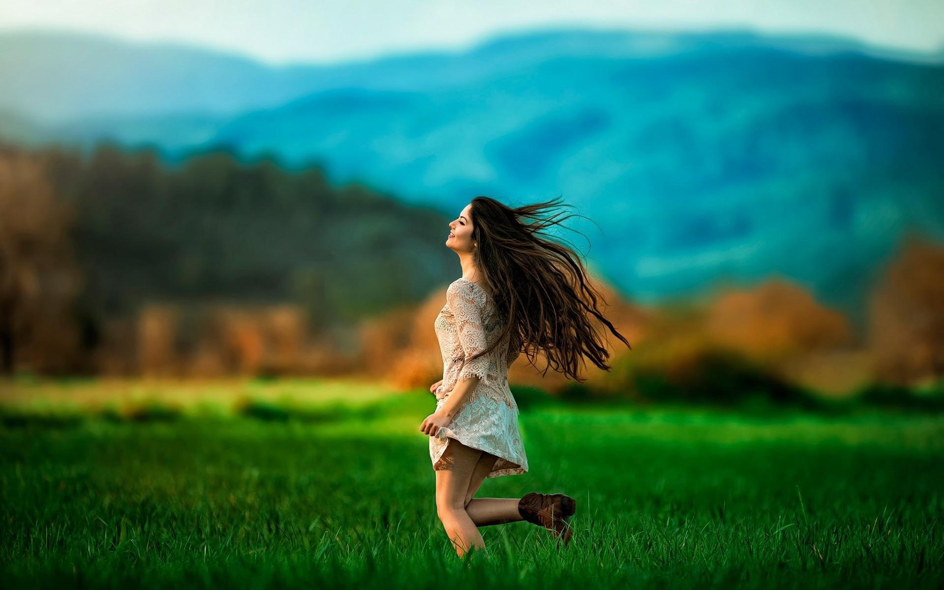 Image: Girl, brunette, running, hair, blurring, field, summer