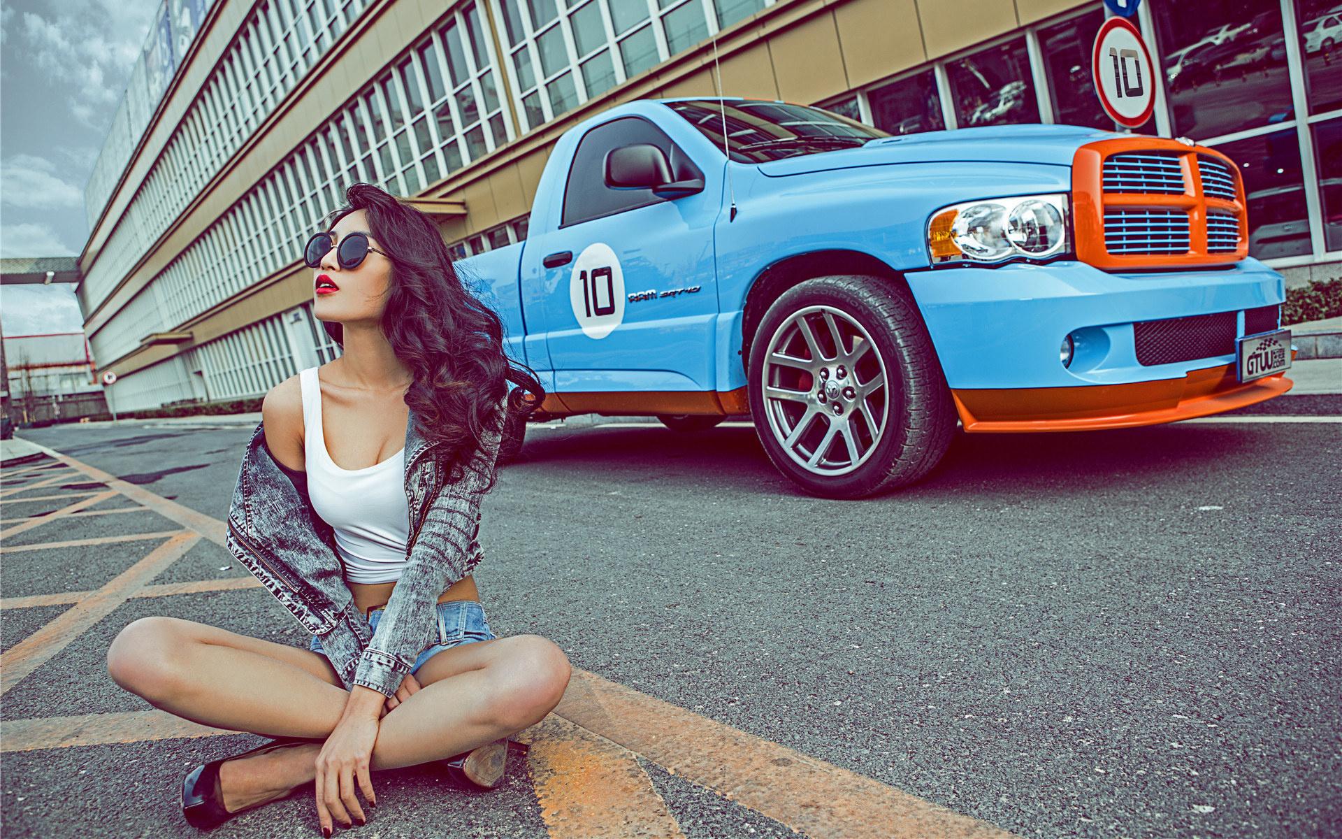 Image: Girl, sitting, road, car, glasses, brunette, asian, model, Dodge Ram, pickup