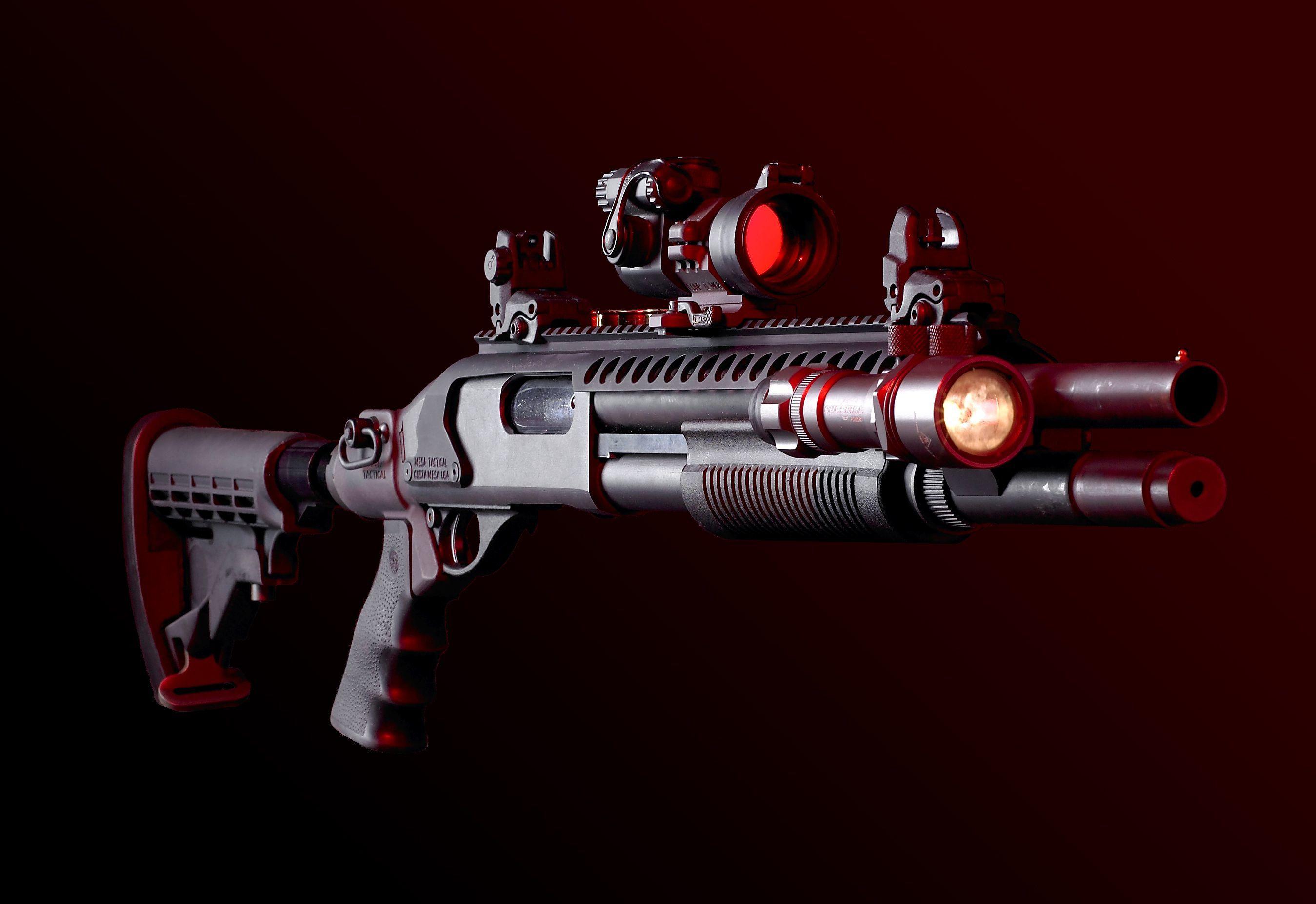 Картинка: Оружие, дробовик, прицел, фонарик