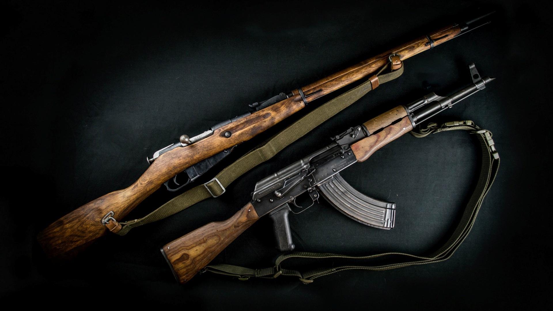 Картинка: Автомат, винтовка, два, оружие, Калашников, Мосин, ремни