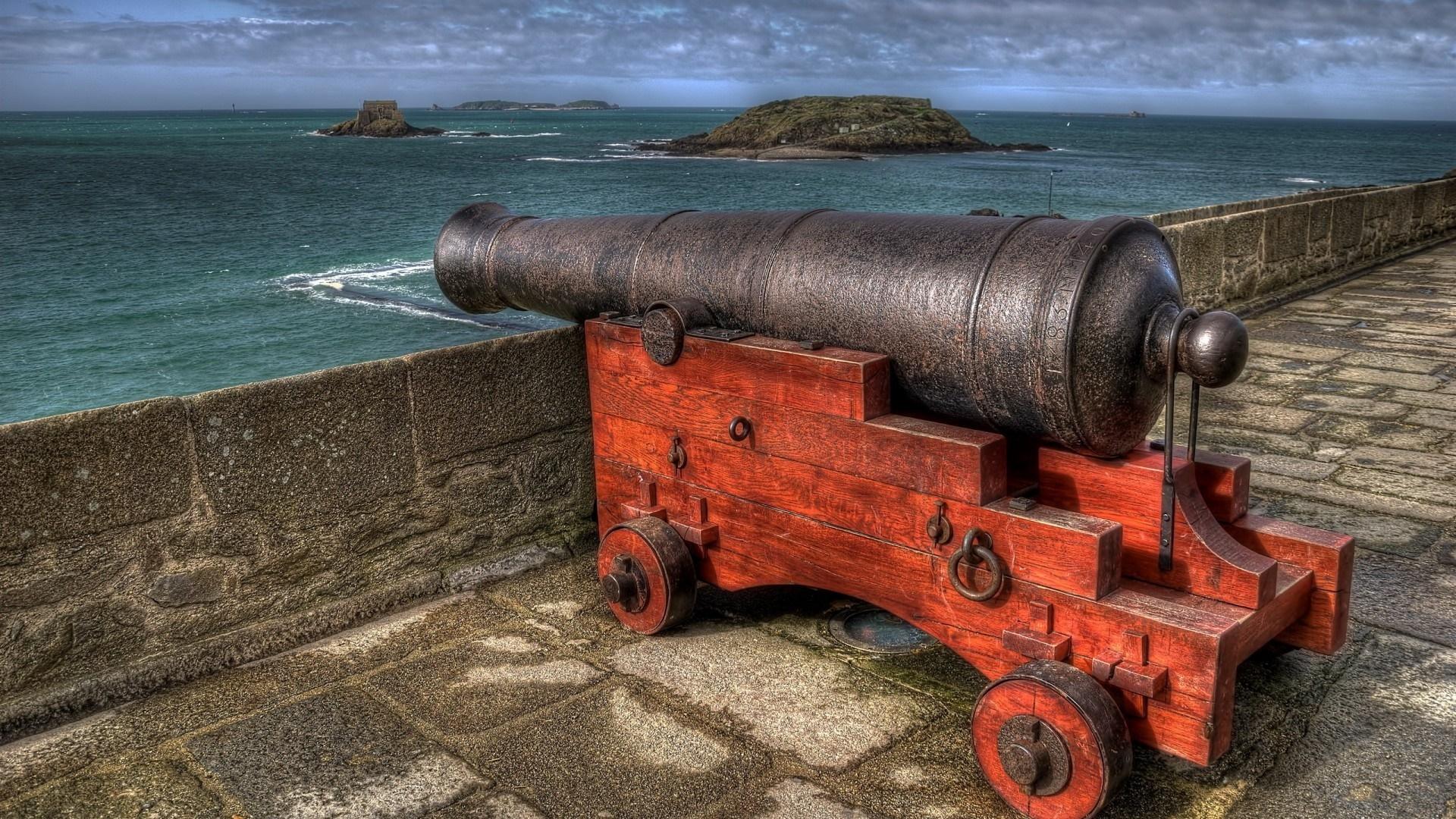 Картинка: Оружие, пушка, море, стена, небо, крепость, Франция, Сен-Мало, Saint-Malo