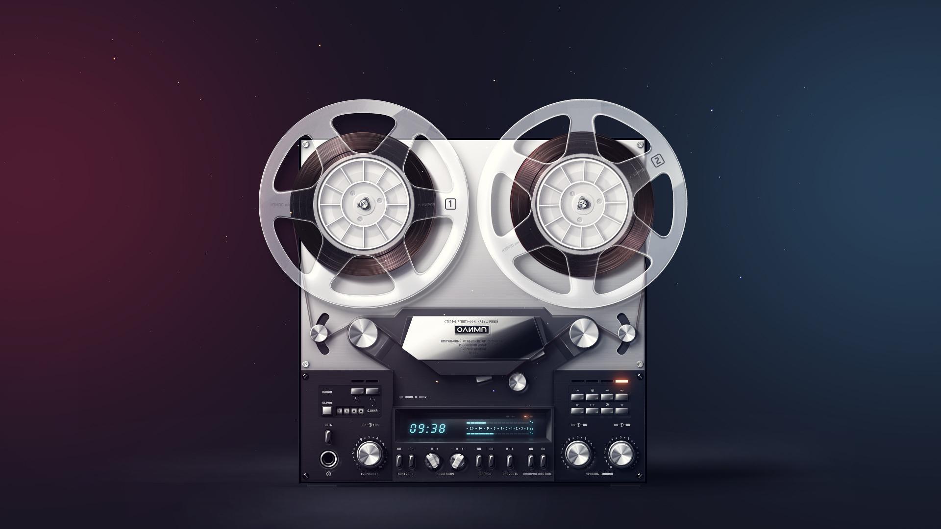Картинка: Стереомагнитофон, Олимп, катушки, дисплей, фон, лента