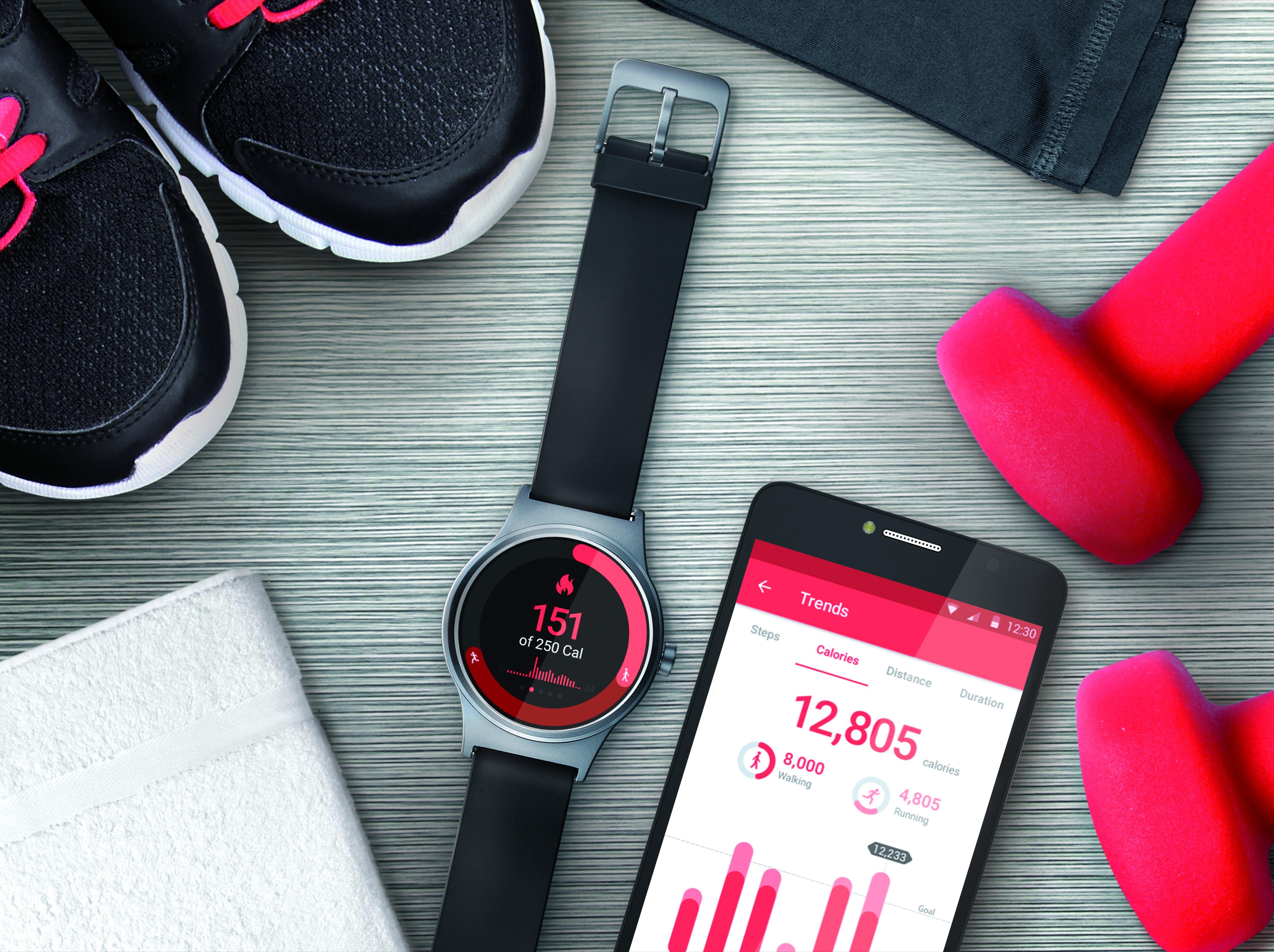 Картинка: Смарт часы, телефон, кроссовки, полотенце, гантели