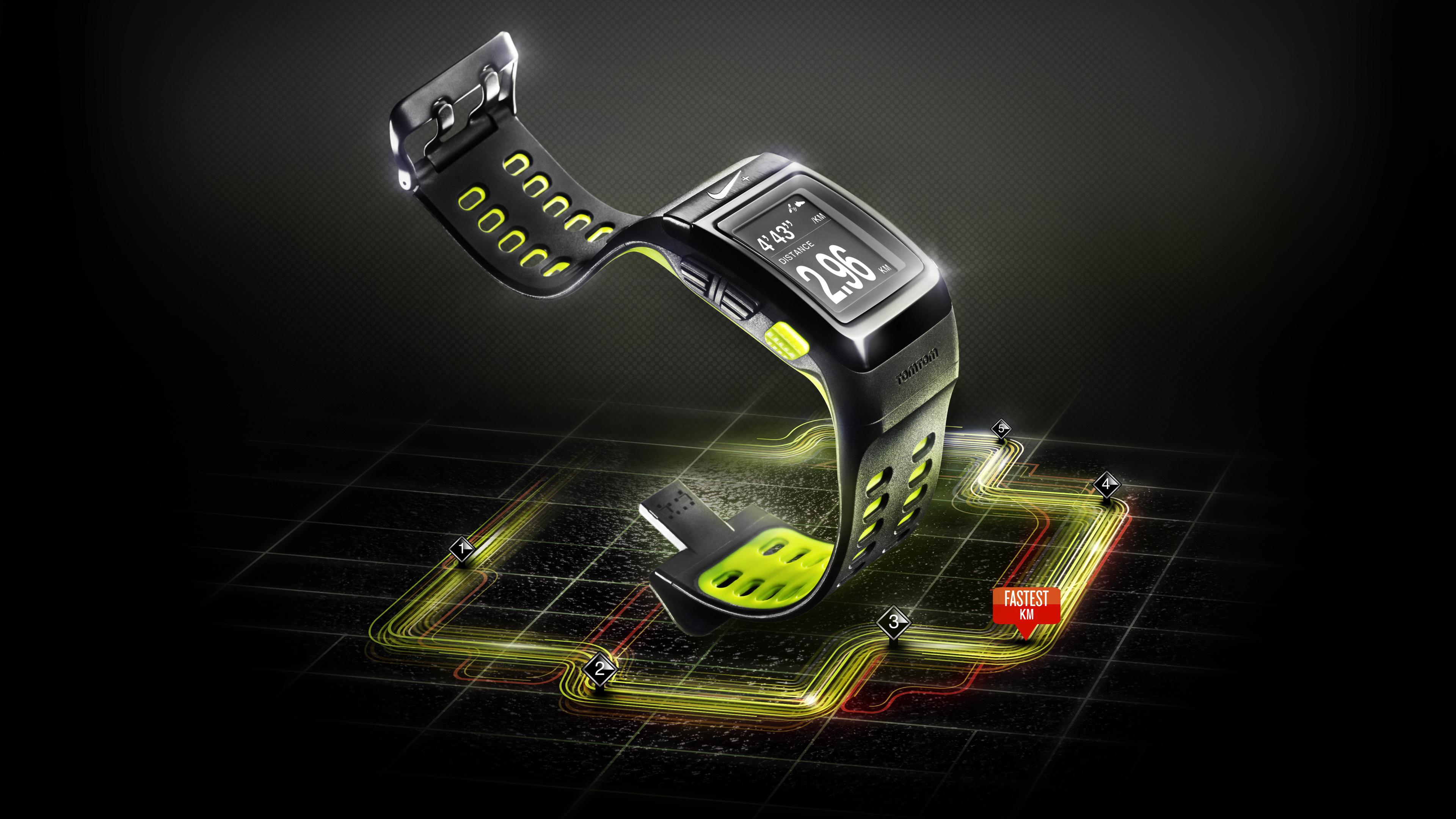 Картинка: Найк, часы, бренд, технология, схема, цифры, чёрный фон