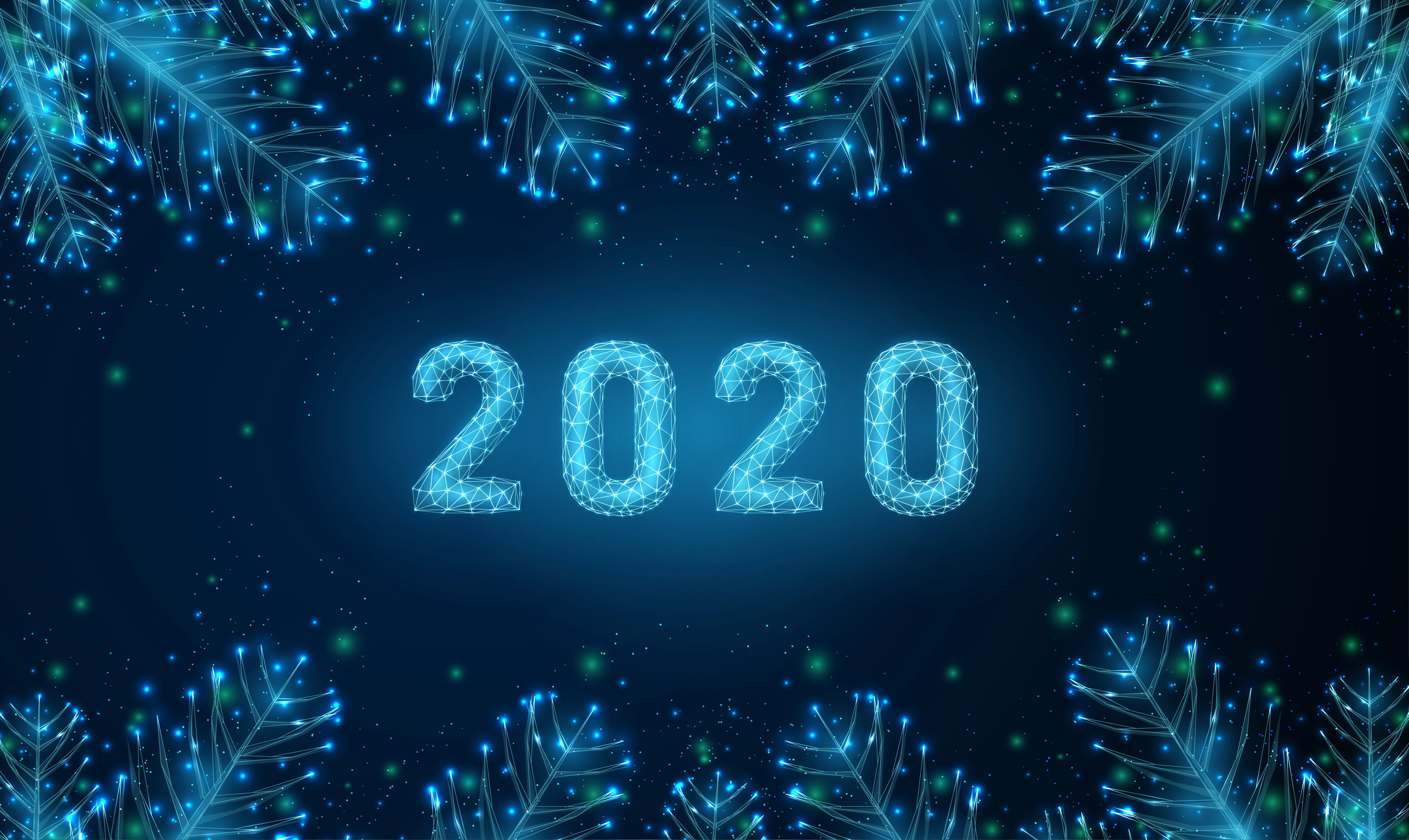 Image: Background, 2020, numbers, branch, new year, reflections