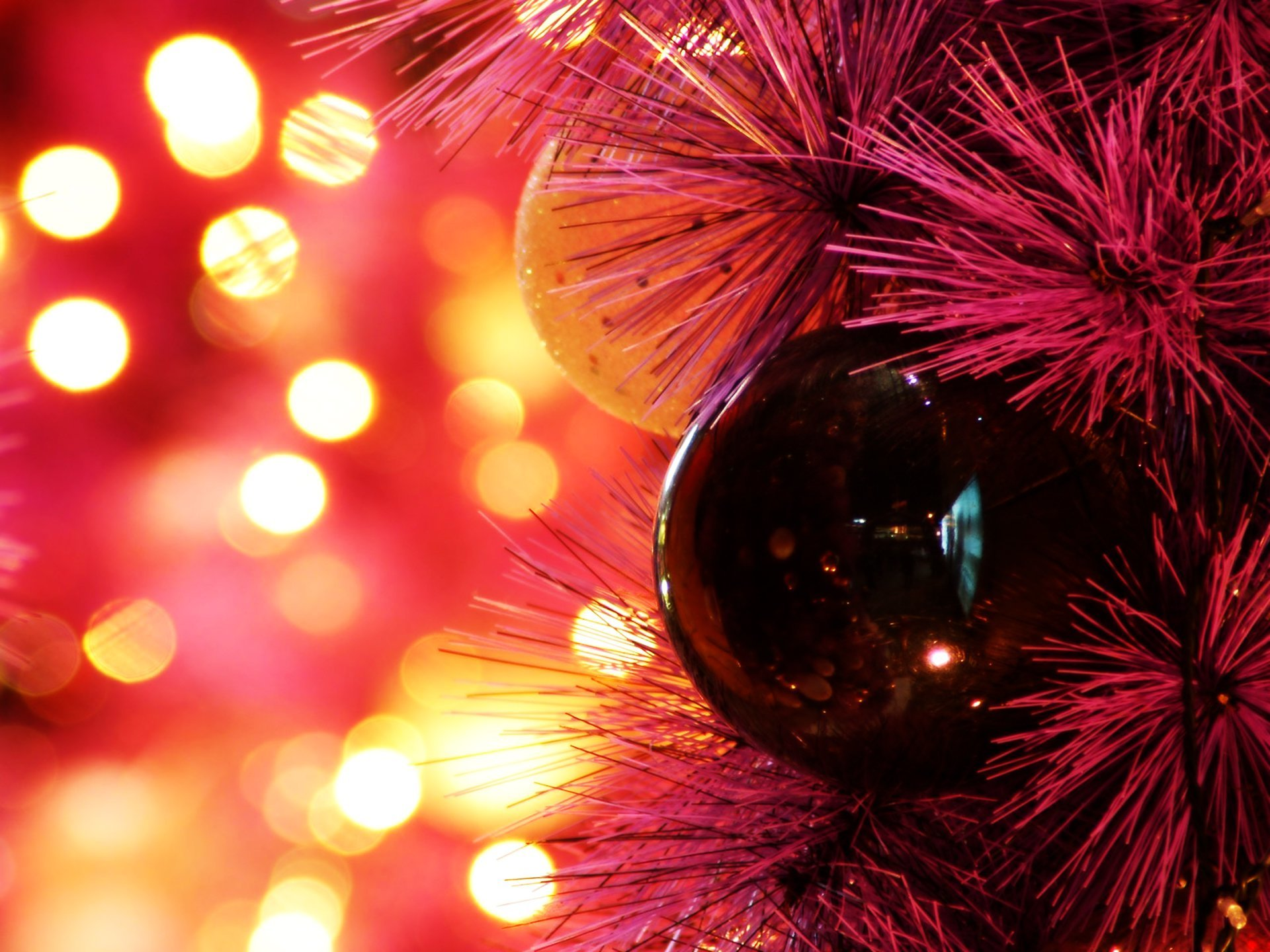 Image: Flare, bokeh, balls, branch, red background