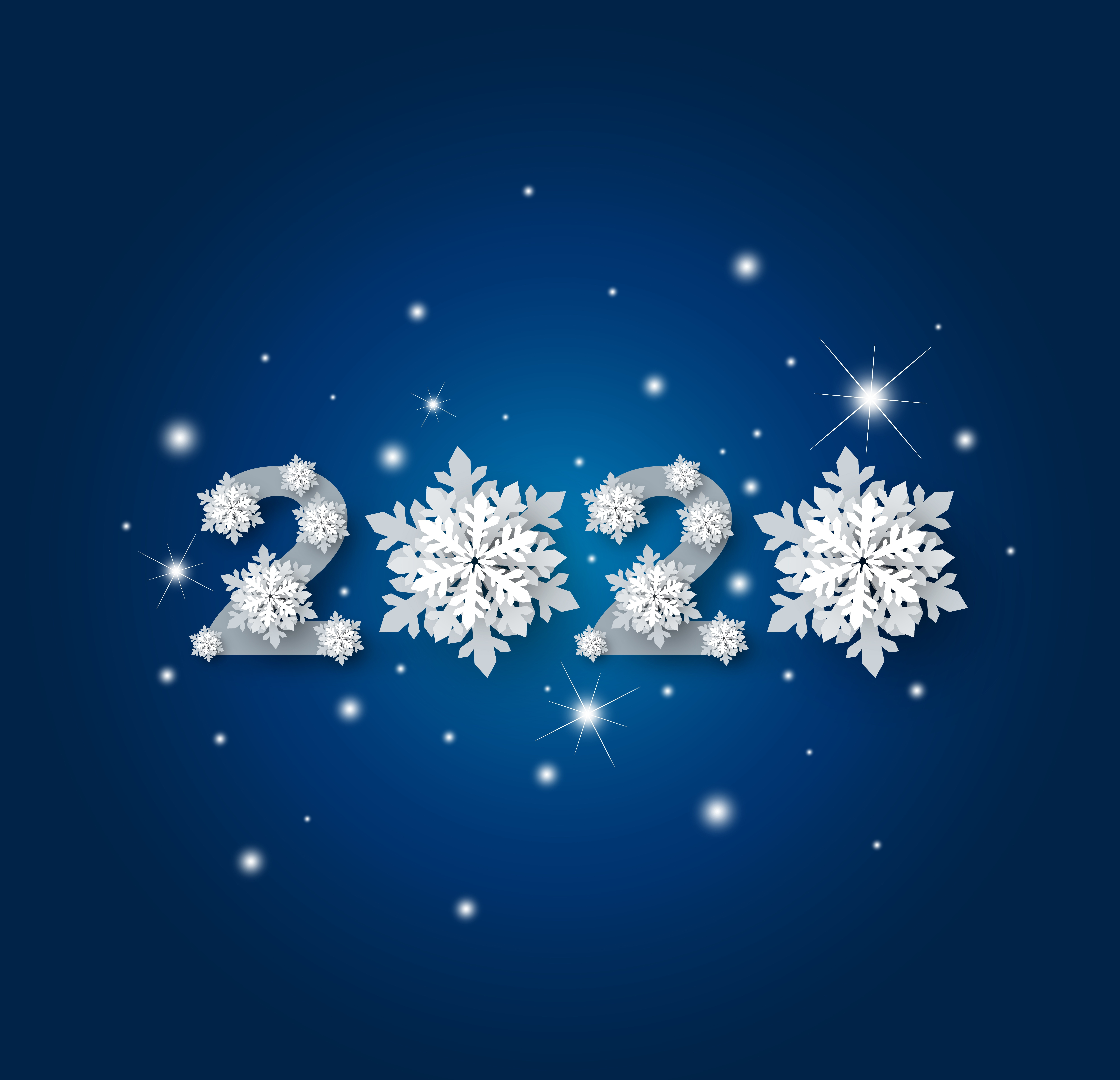 Image: Numbers, 2020, new year, snowflakes, blue background
