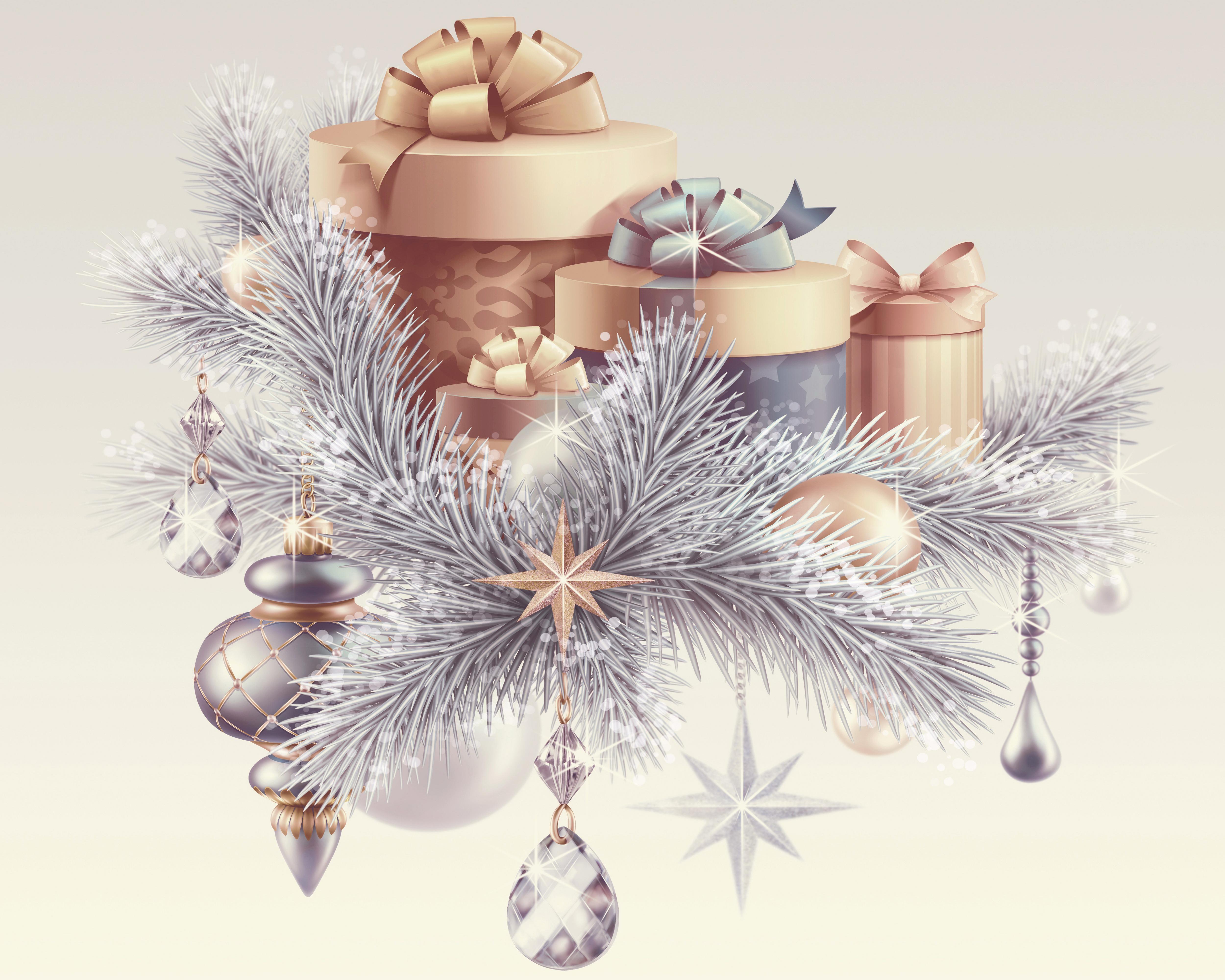 Картинка: Подарки, ель, веточки, Новый год, звёздочки, украшения