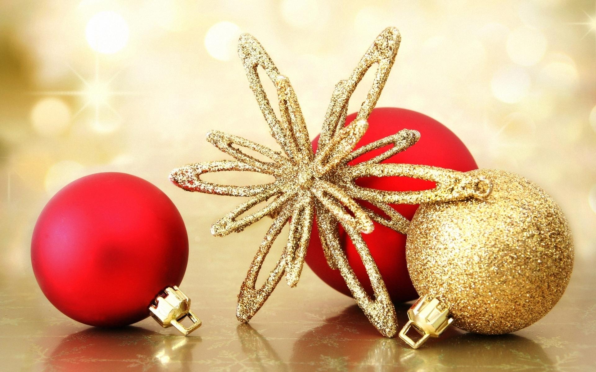 Картинка: Снежинка, шары, золотой, красный, праздник, новый год