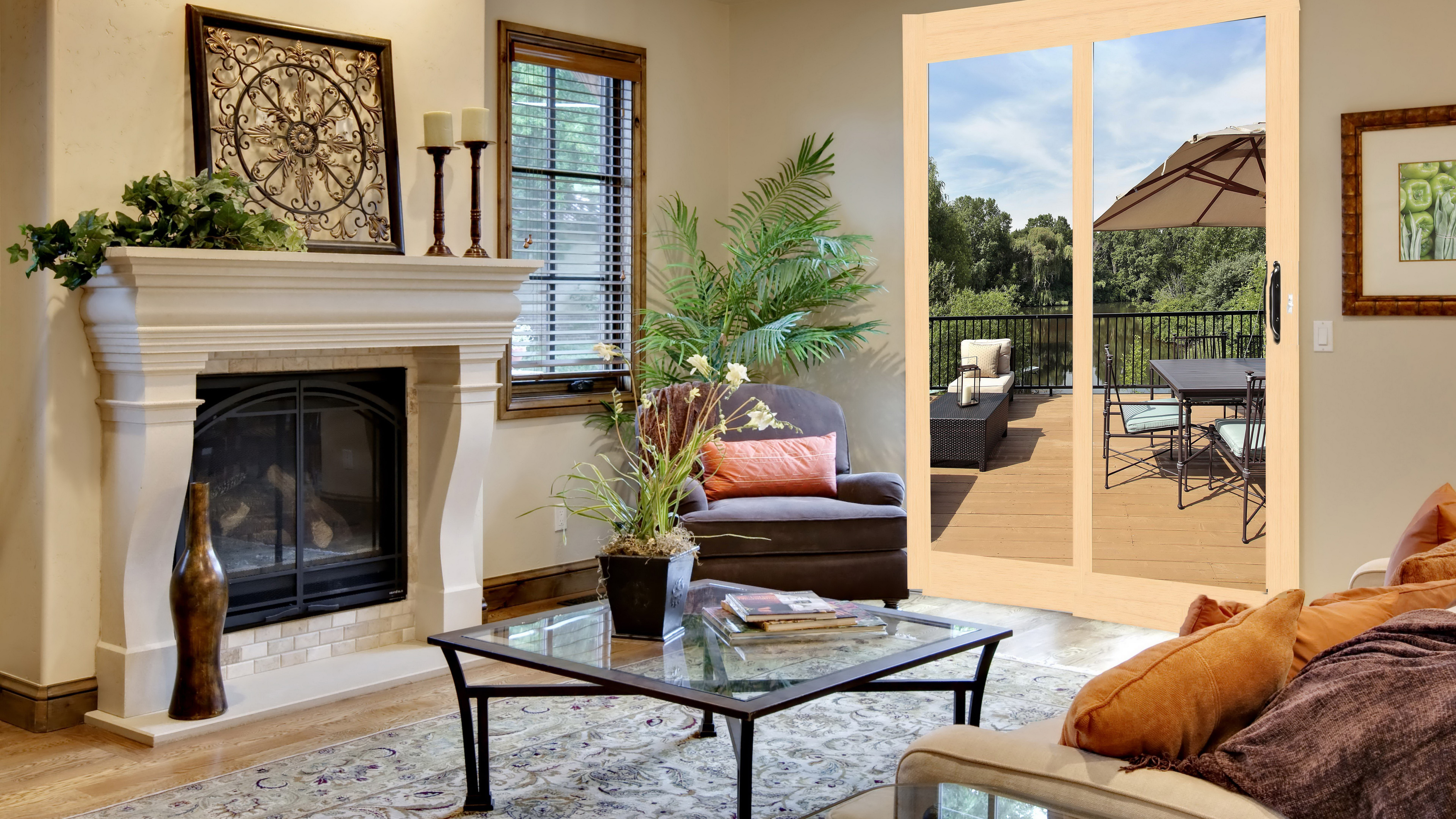 Image: Fireplace, table, sofa, window, blinds, plants, painting, terrace