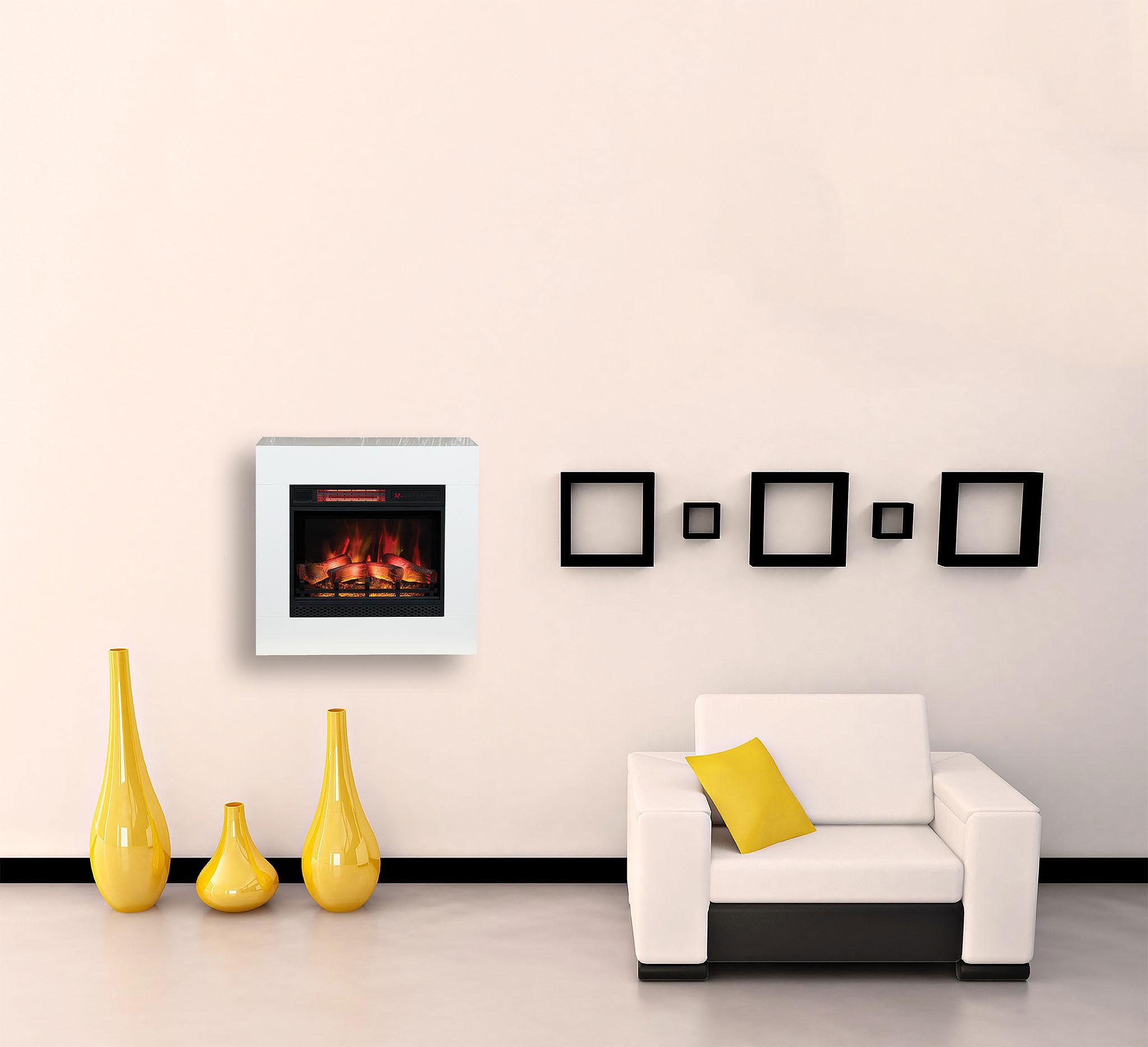 Картинка: Кресло, вазы, декор, дизайн, электрокамин, рамки