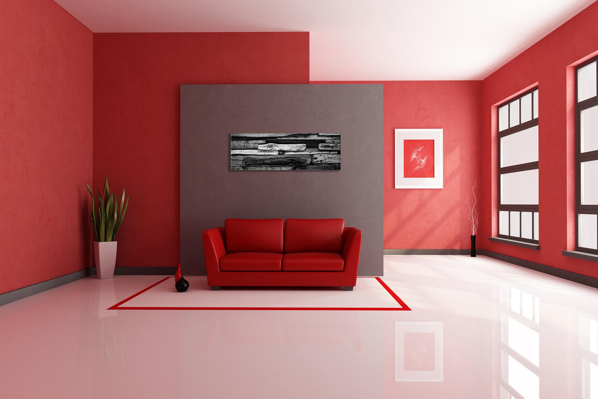 Картинка: Комната, диван, красный, светлая, стены, окна, цветок