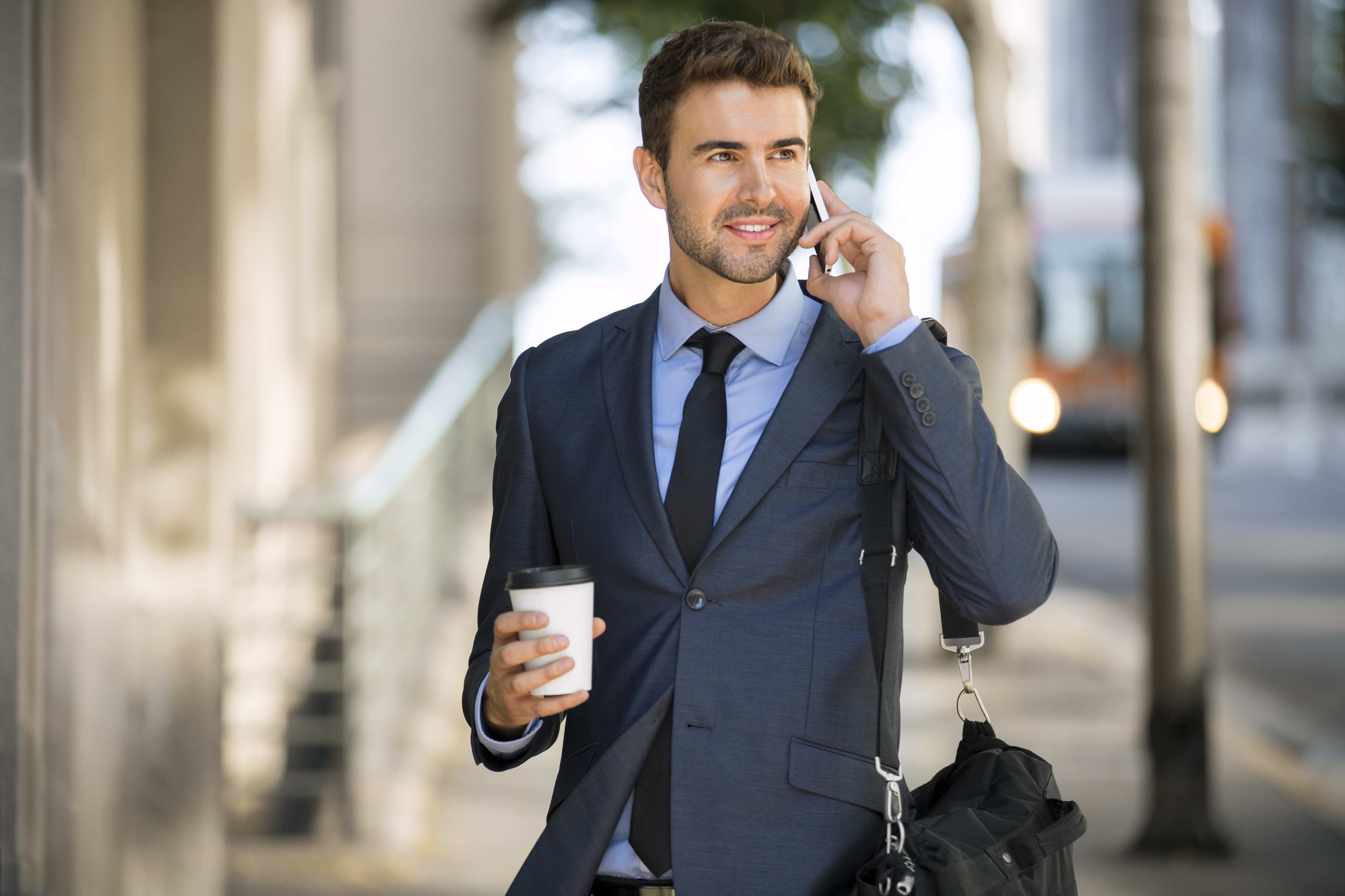 Image: Male, guy, face, smile, phone, style, suit, coat, coffee сup, street
