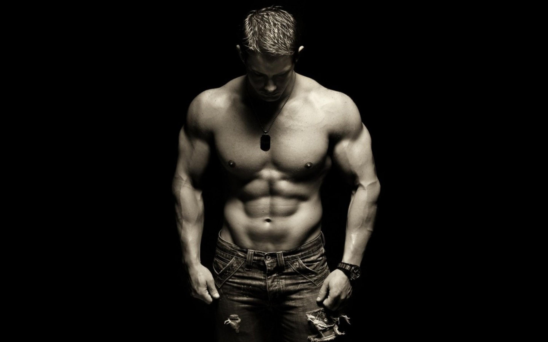 Image: Guy, muscle, press, body, jock, jeans, pendant, watch