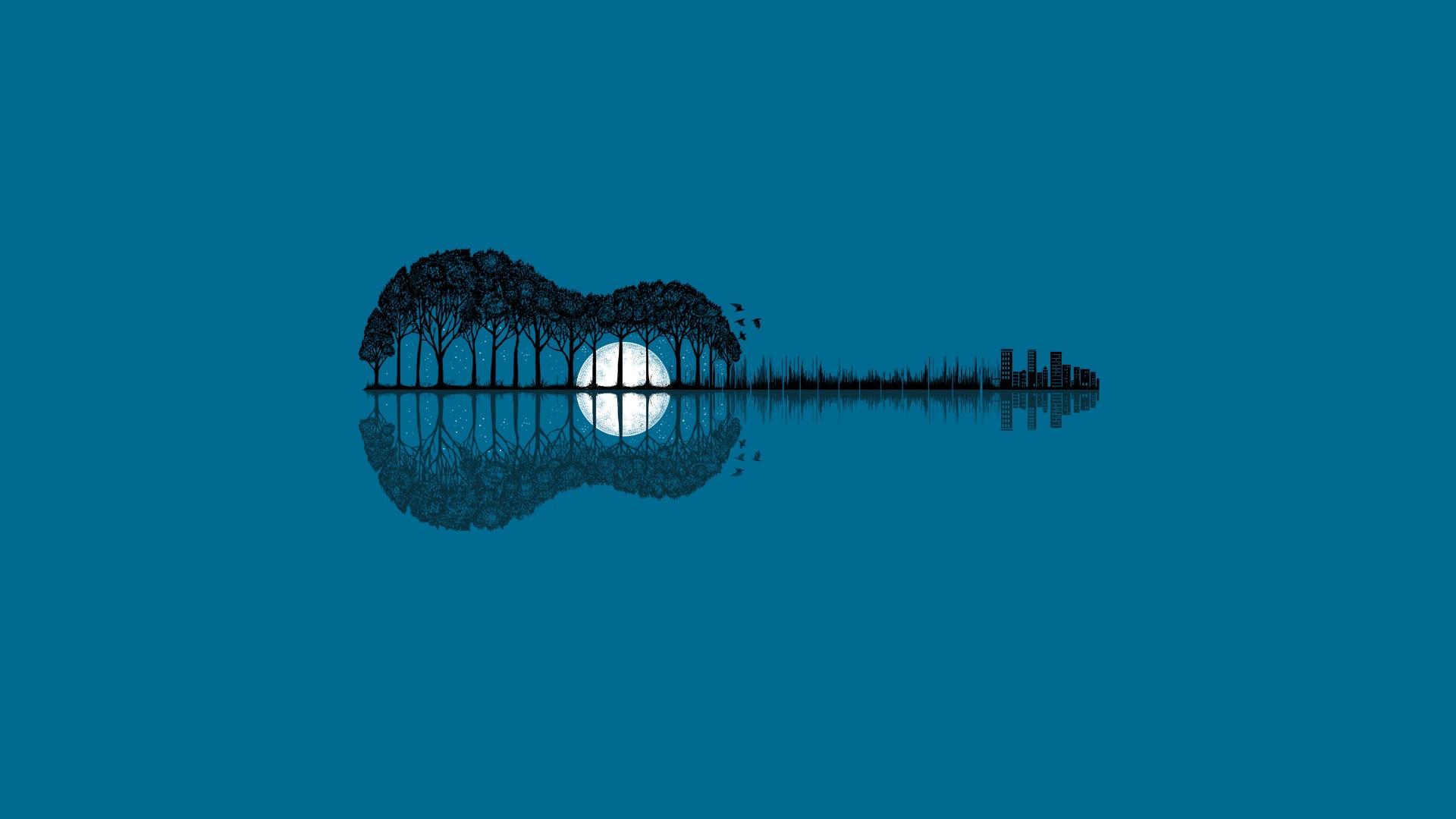 Картинка: Гитара, деревья, луна, отражение, птицы, здания, дома, голубой фон