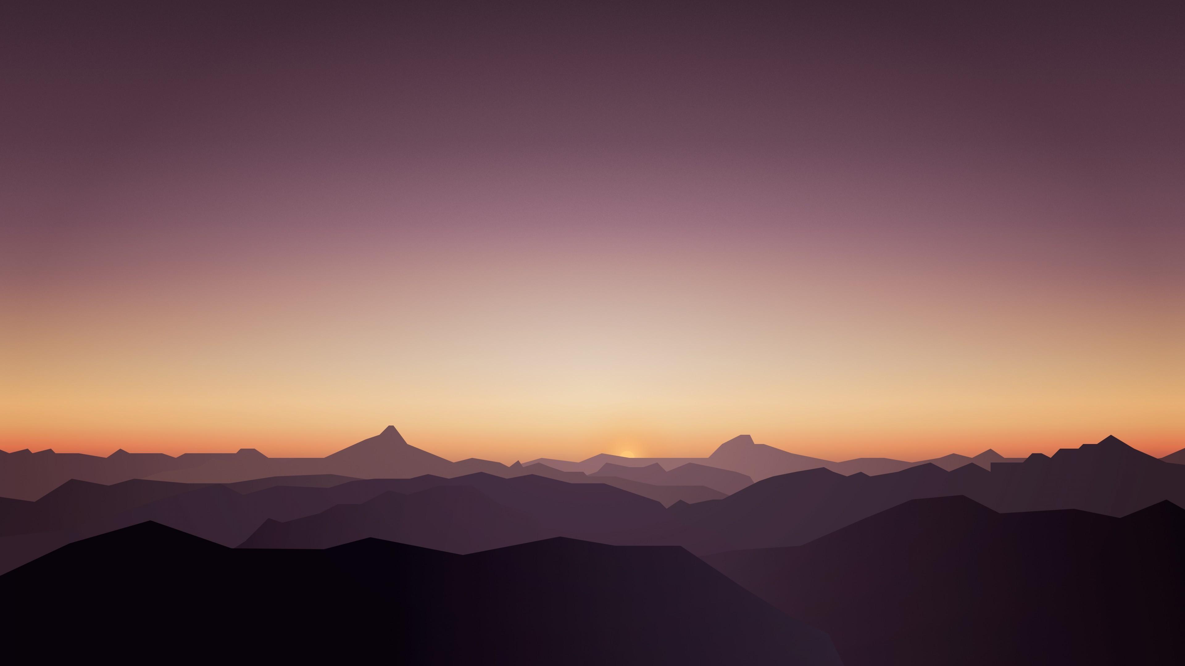 Картинка: Горы, небо, закат, туман