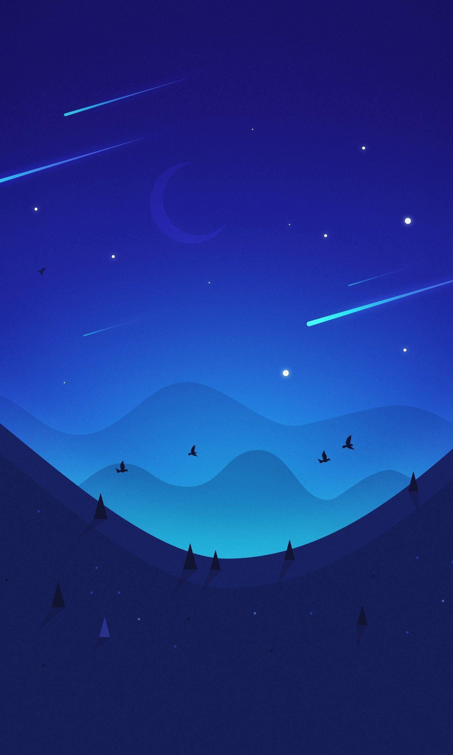 Картинка: Ночь, небо, звёзды, месяц, горы, птицы