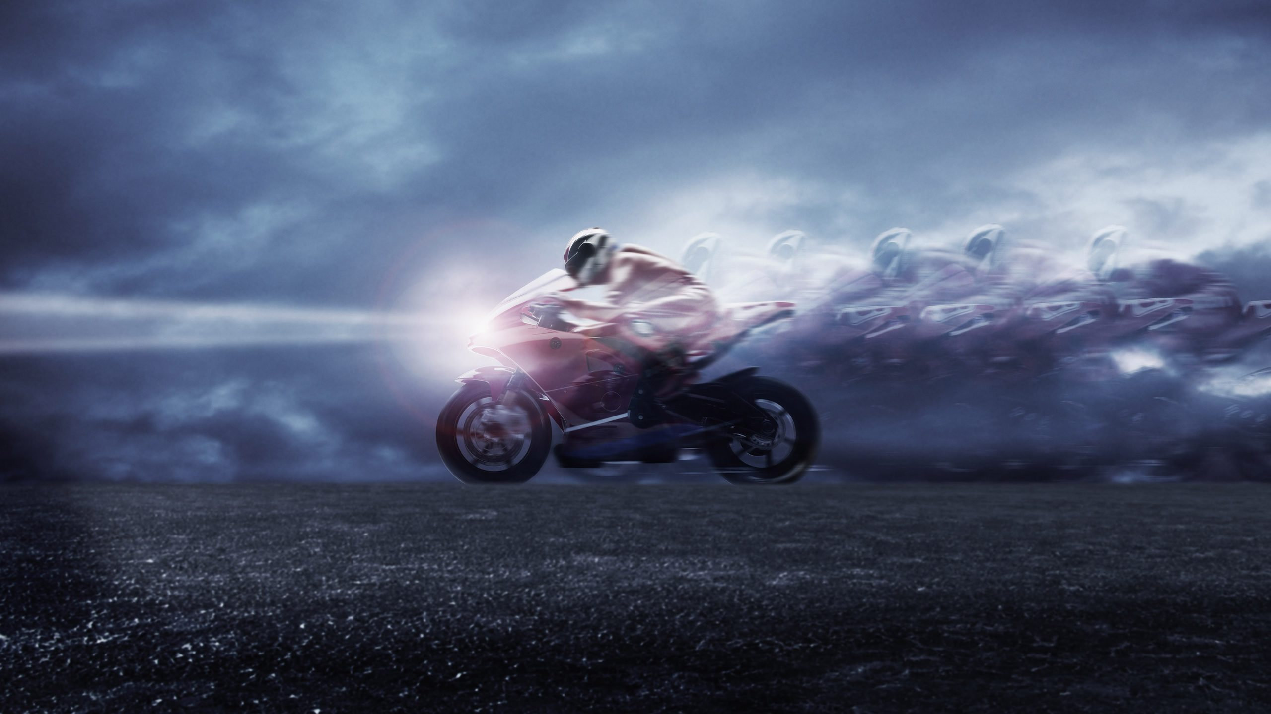 Image: Bike, racer, speed, light, sky, road