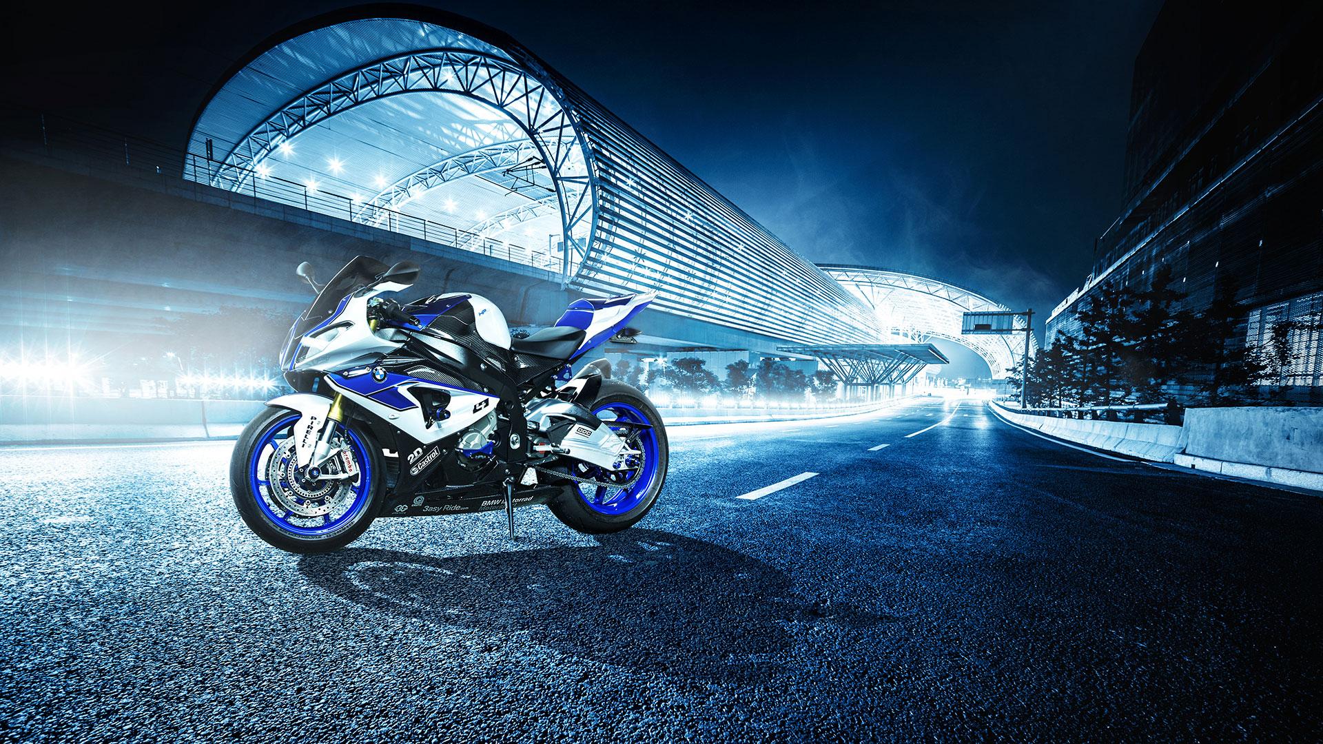 Image: BMW, motorcycle, white-blue, wheel, light, road, marking