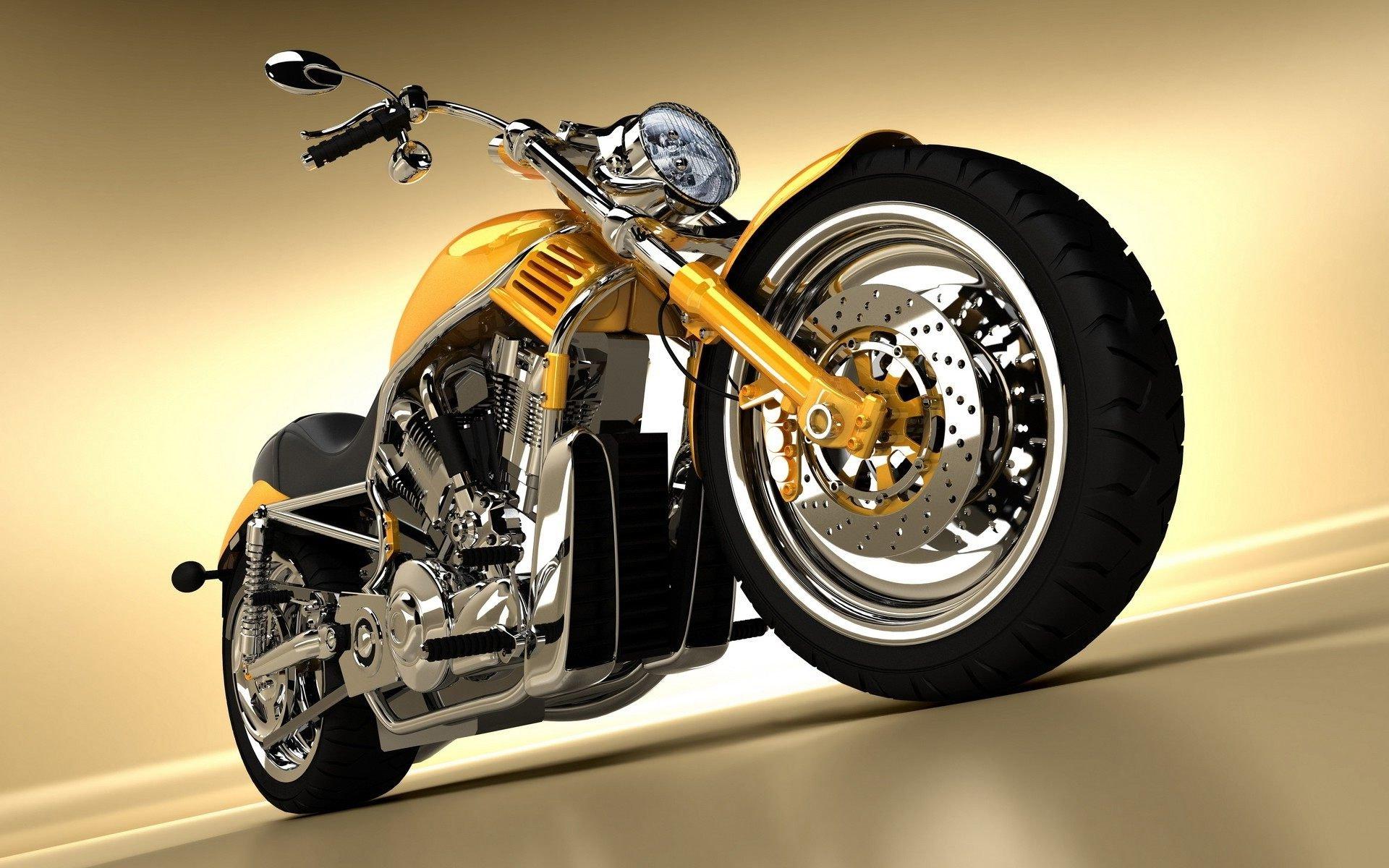 Image: Motorcycle, Harley Davidson, yellow, molding, wheels, handlebar, headlight, mirror