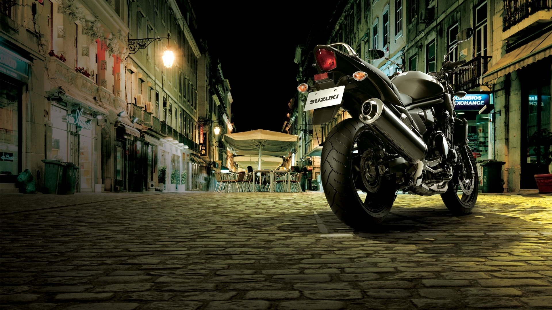 Image: Suzuki, motorcycle, bike, black, street, building, night, lighting