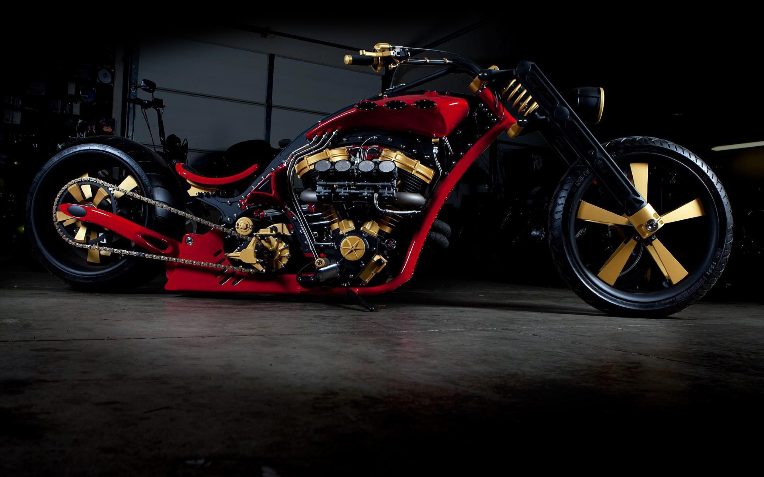 Image: Chopper, bike, black, chain, tuning, style, engine