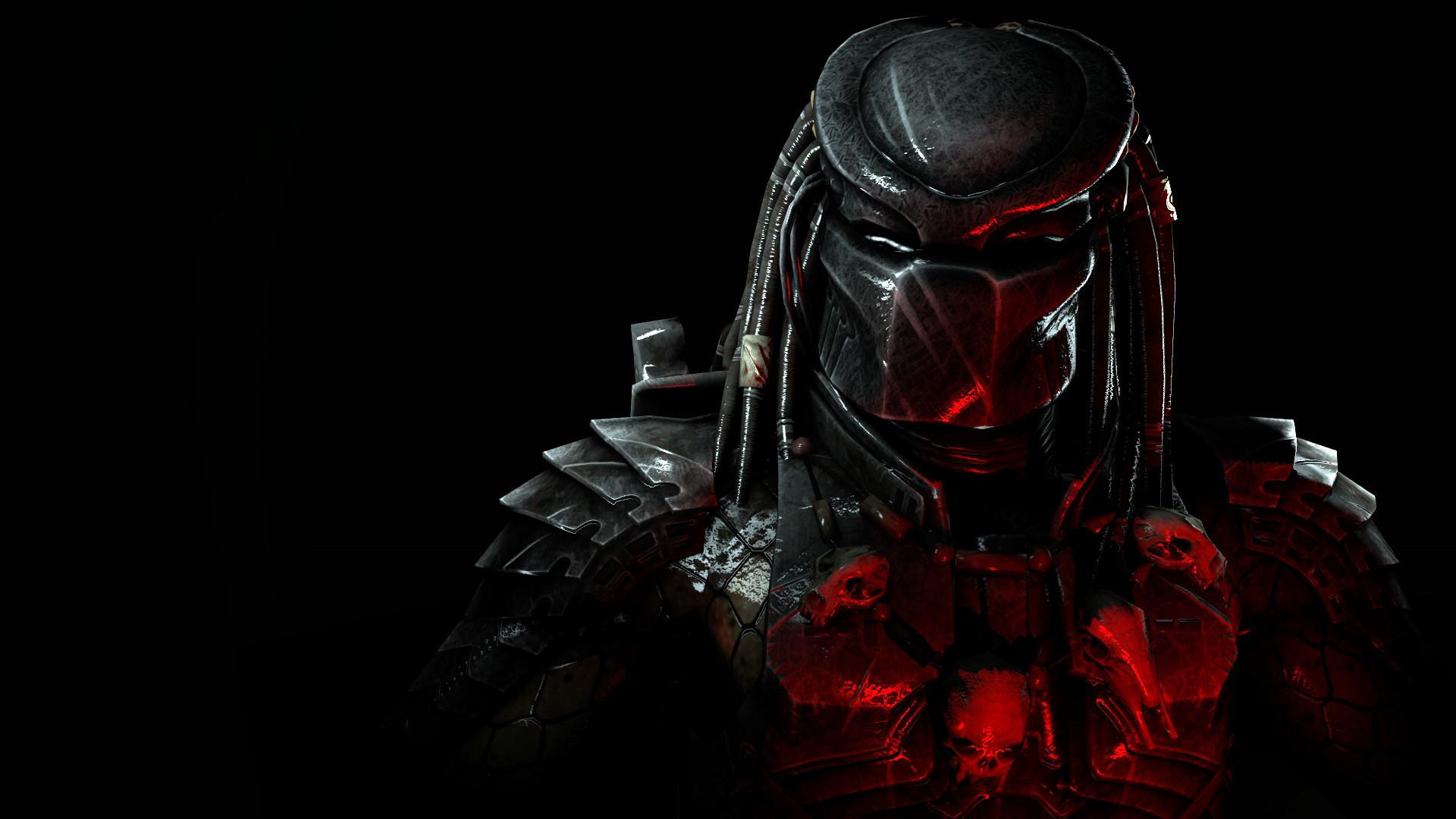 Картинка: Хищник, Predator, фантастика, персонаж, шлем, костюм, шрамы, экипировка, чёрный фон, свет, игра, Mortal Kombat X