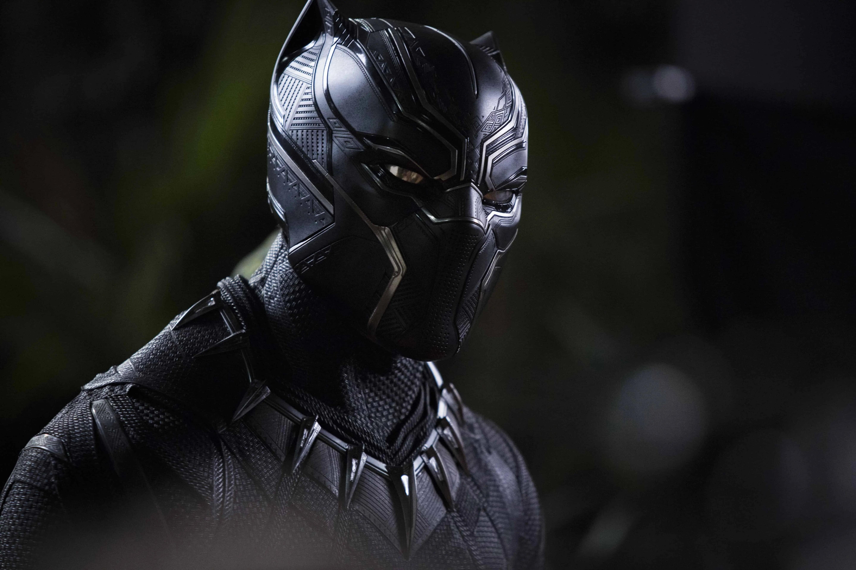 Картинка: Герой, чёрный, Чёрная Пантера, костюм, маска, лицо, ночь, комиксы, marvel