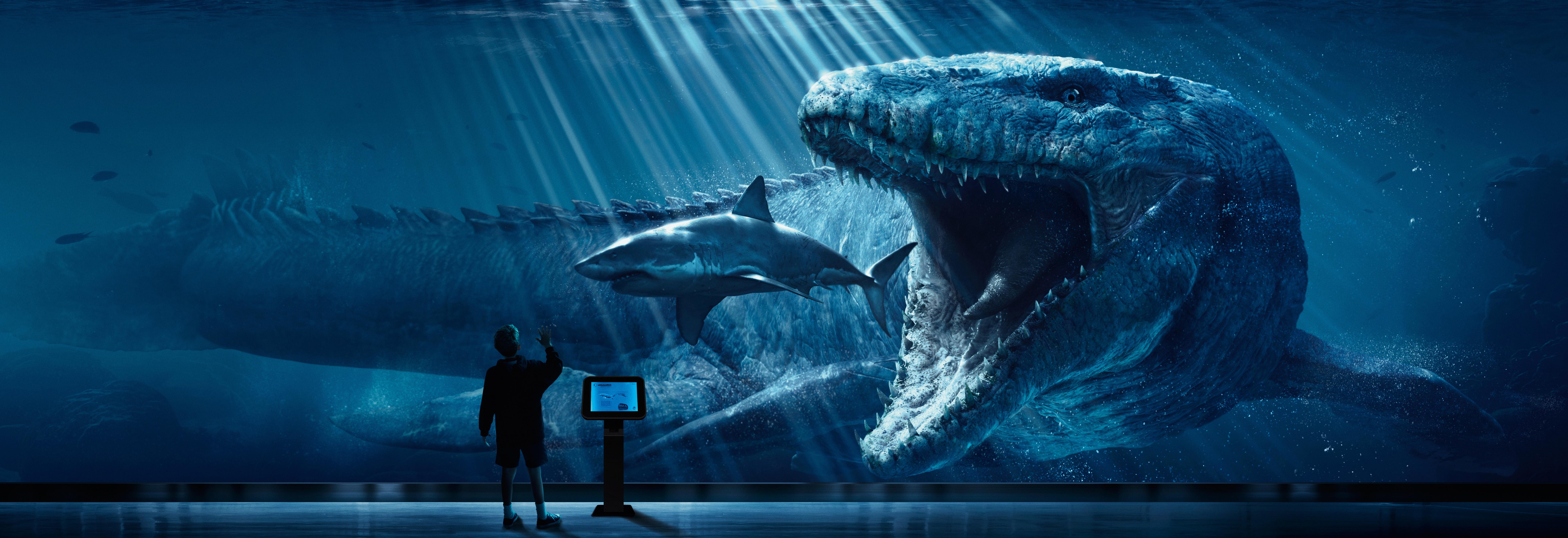 Картинка: Аквариум, динозавр, акула, мальчик, информационная стойка, охота, хищник, мозазавр, Мир юрского периода, фильм