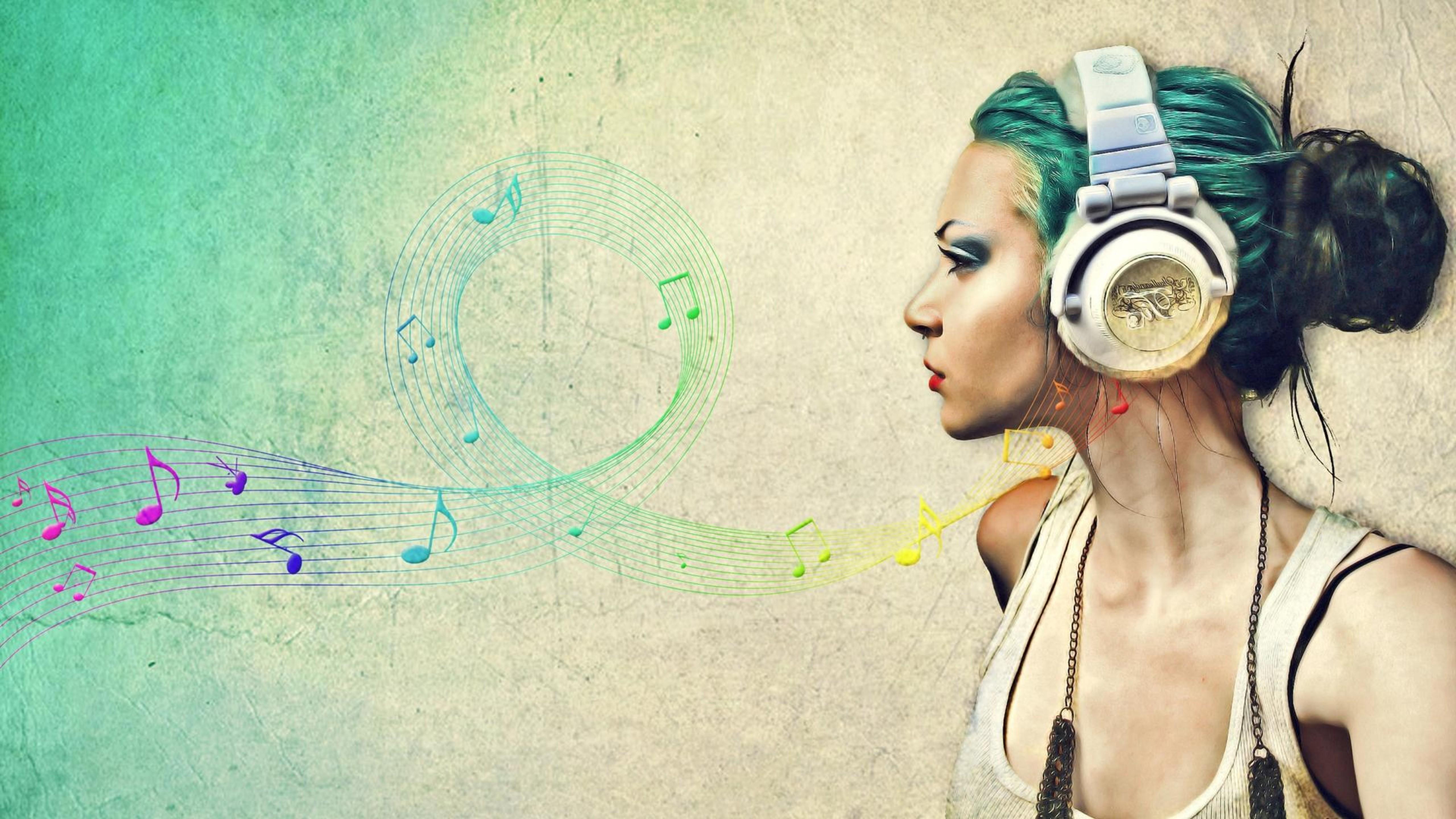 Картинка: Девушка, наушники, звук, волны, мелодия, ноты