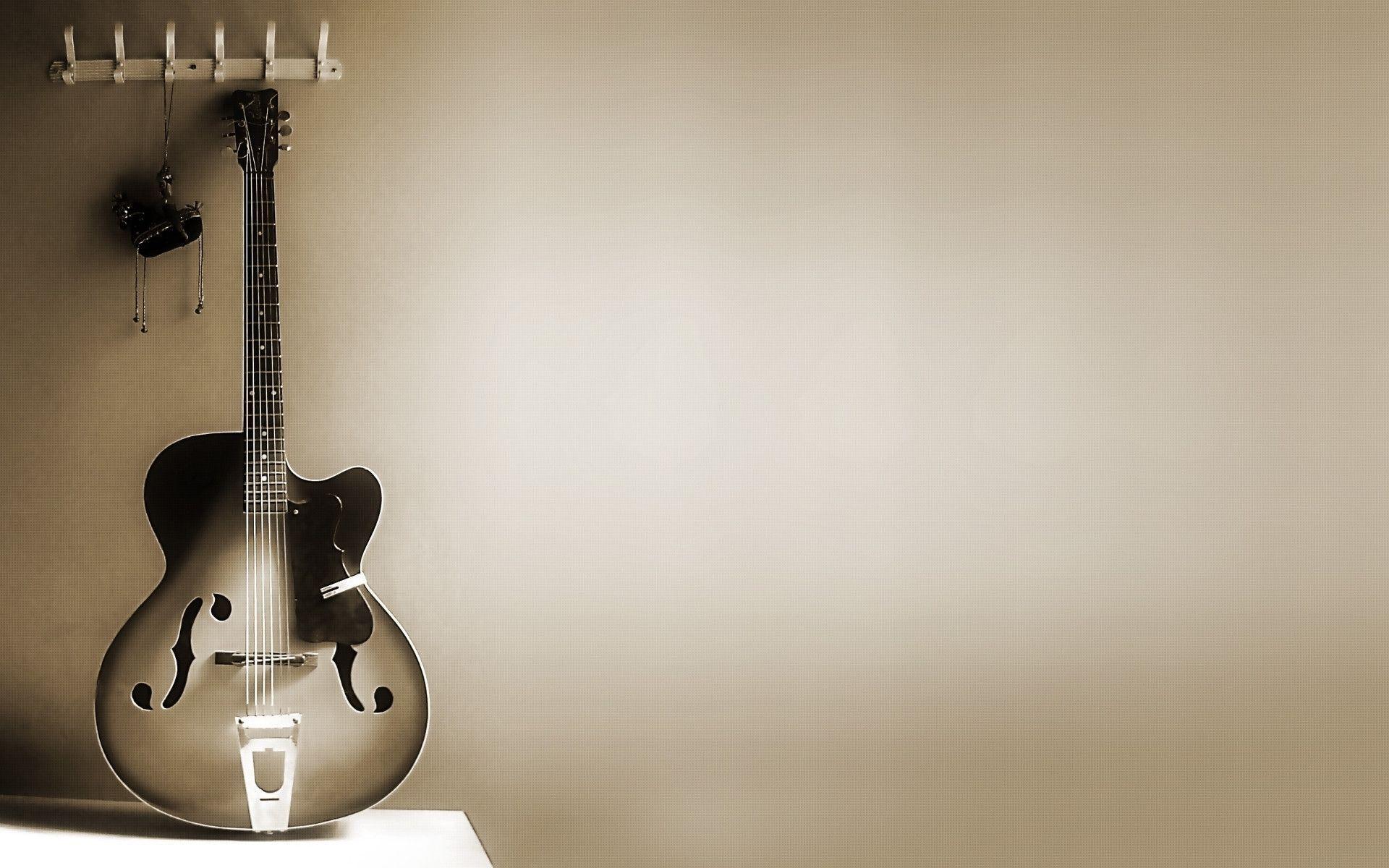 Картинка: Гитара, струны, стена, серый фон