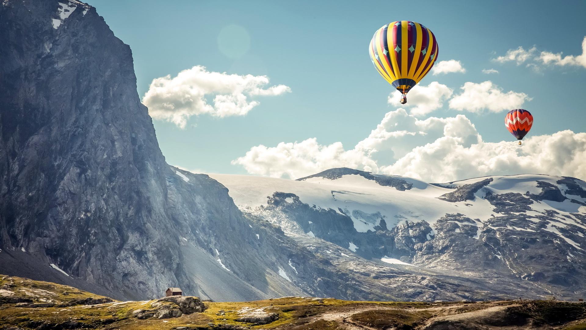 Картинка: Горы, воздушный, шар, небо, облака, высота