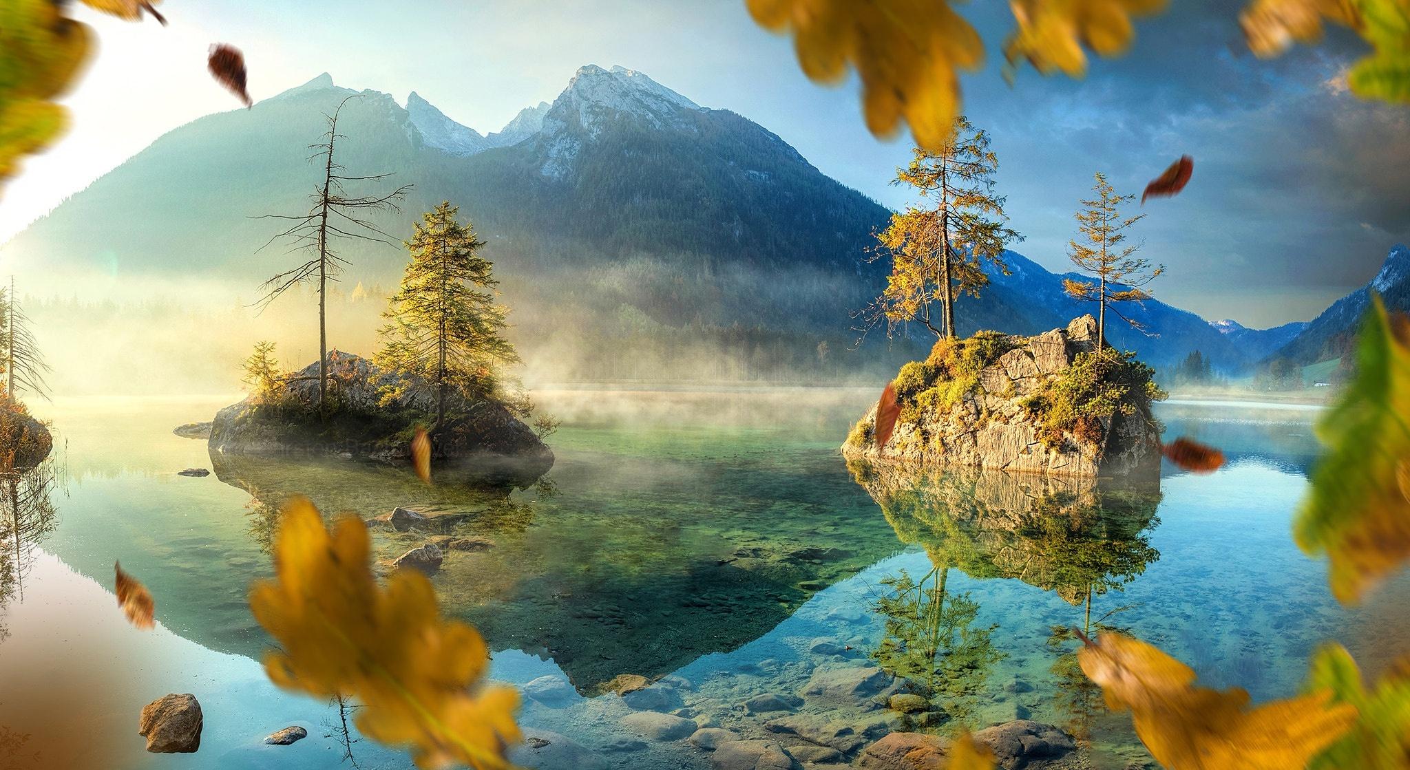 Картинка: Озеро, вода, горы, пейзаж, осень, листья