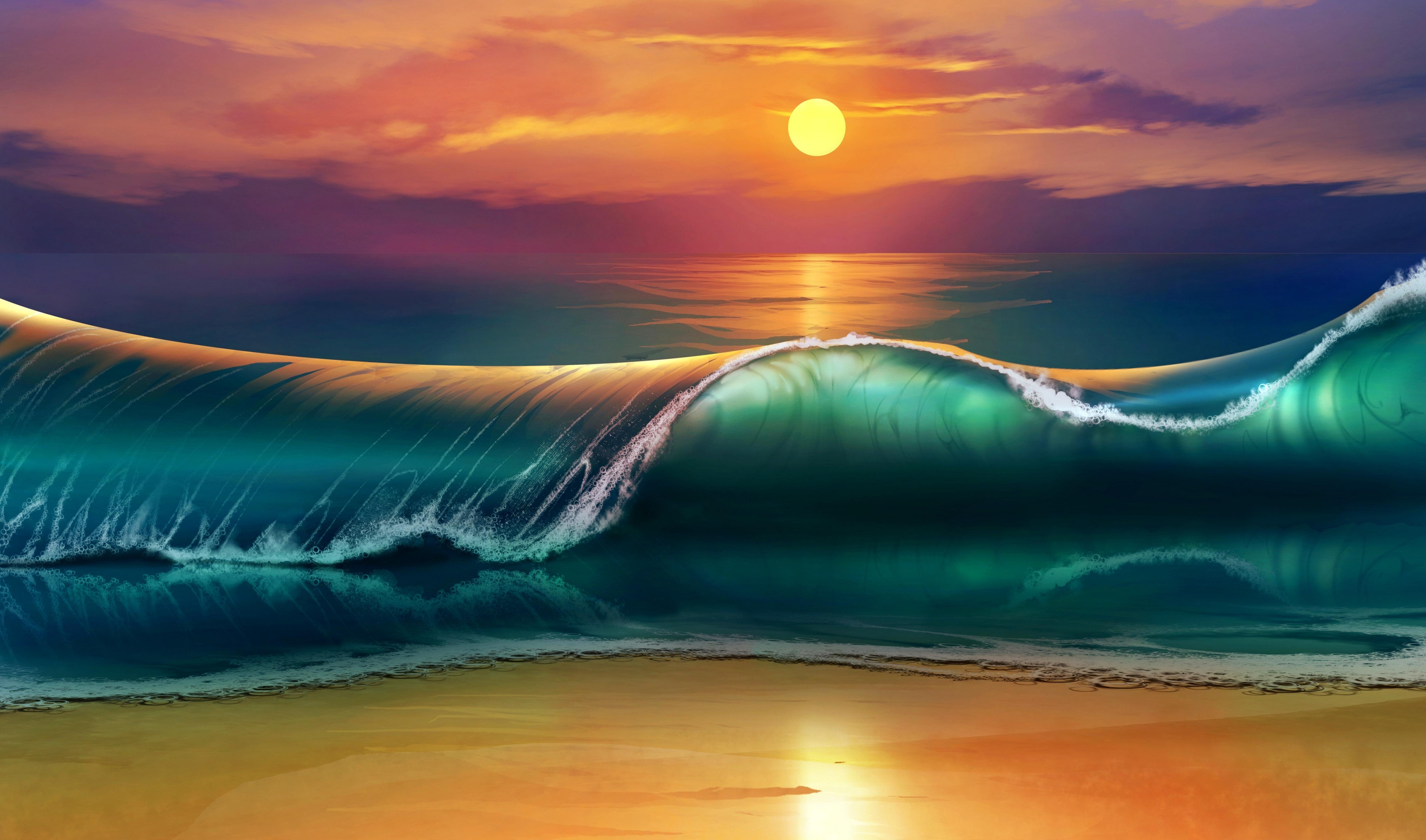 Картинка: Пляж, море, волна, солнце, небо, песок, закат